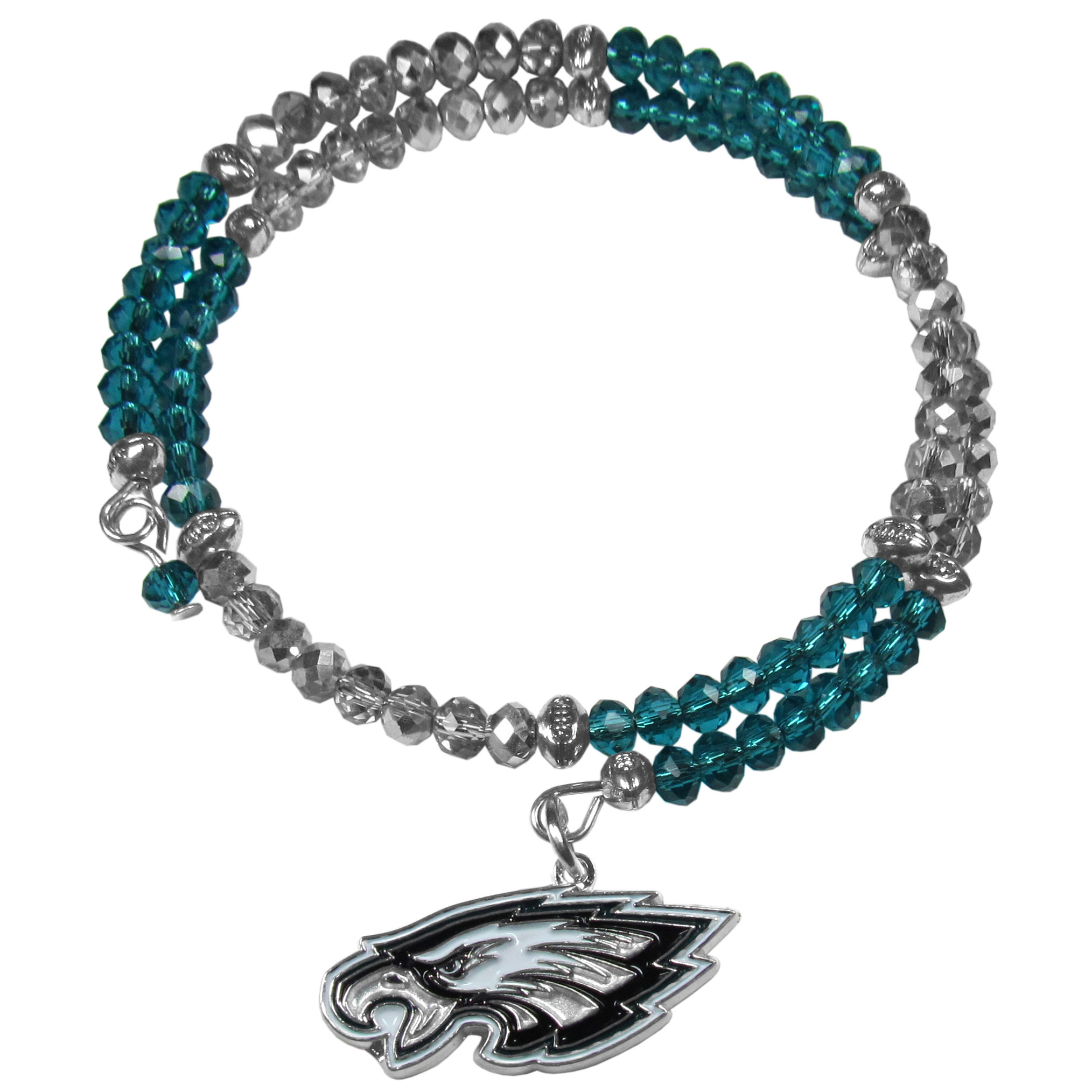 Philadelphia Eagles Crystal Memory Wire Bracelet - Our Philadelphia Eagles memory wire crystal bracelet is trendy way to show off your love of the game. The double wrap bracelet is completely covered in 4 mm crystals that are broken up with adorable football beads creating a designer look with a sporty twist. The bracelet features a fully cast, metal team charm that has expertly enameled team colors. This fashion jewelry piece is a must-have for the die-hard fan that chic look that can dress up any outfit.