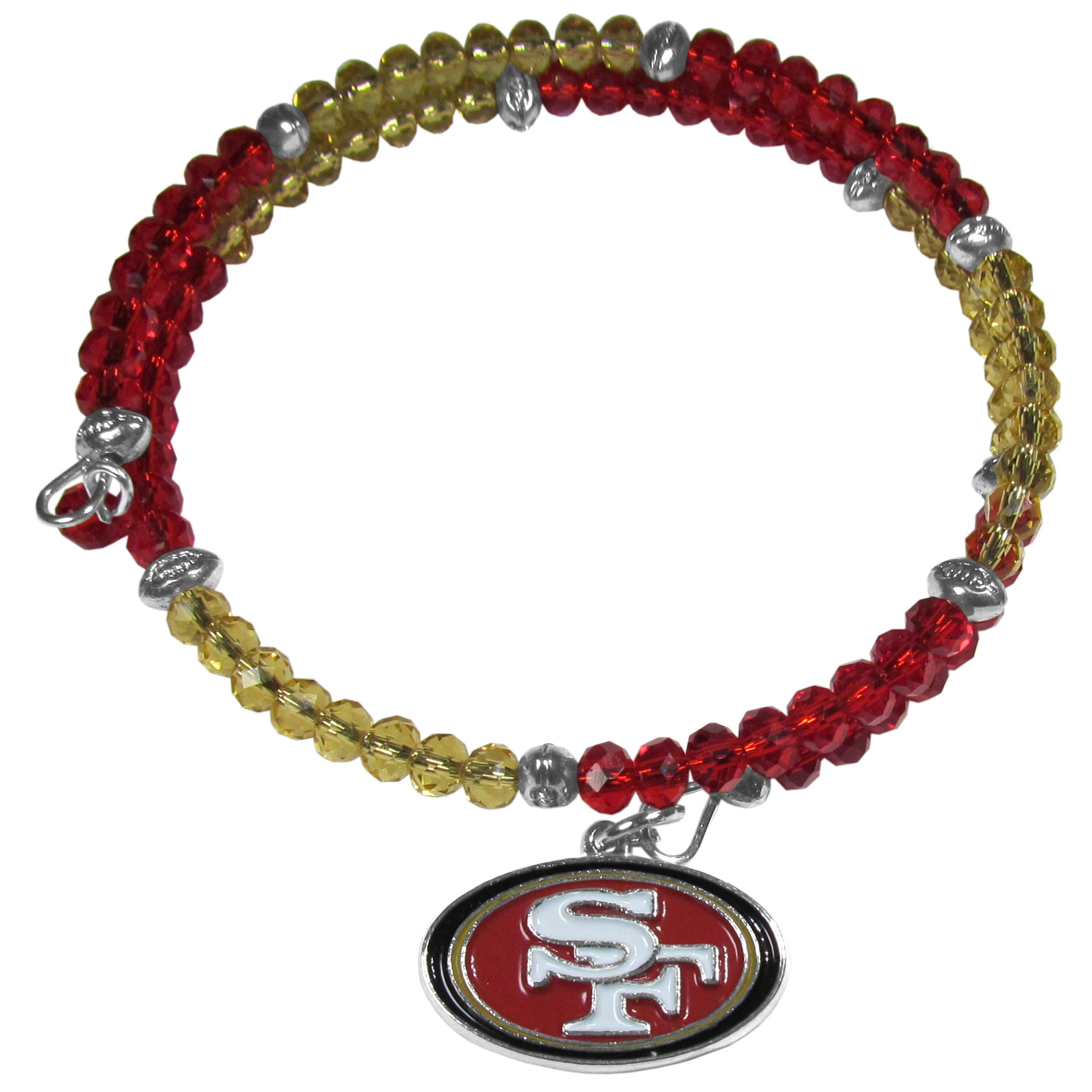 San Francisco 49ers Crystal Memory Wire Bracelet - Our San Francisco 49ers memory wire crystal bracelet is trendy way to show off your love of the game. The double wrap bracelet is completely covered in 4 mm crystals that are broken up with adorable football beads creating a designer look with a sporty twist. The bracelet features a fully cast, metal team charm that has expertly enameled team colors. This fashion jewelry piece is a must-have for the die-hard fan that chic look that can dress up any outfit.