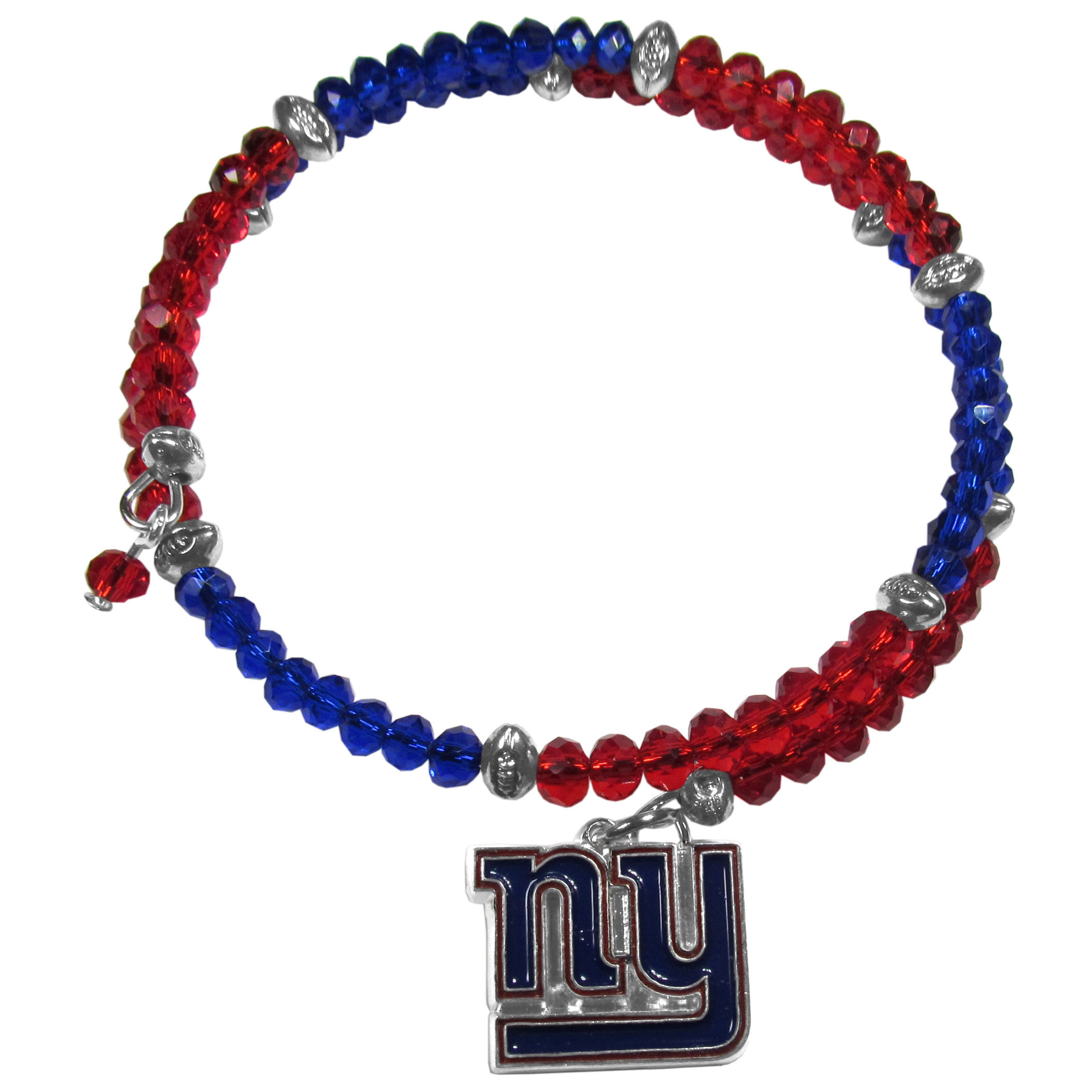 New York Giants Crystal Memory Wire Bracelet - Our New York Giants memory wire crystal bracelet is trendy way to show off your love of the game. The double wrap bracelet is completely covered in 4 mm crystals that are broken up with adorable football beads creating a designer look with a sporty twist. The bracelet features a fully cast, metal team charm that has expertly enameled team colors. This fashion jewelry piece is a must-have for the die-hard fan that chic look that can dress up any outfit.
