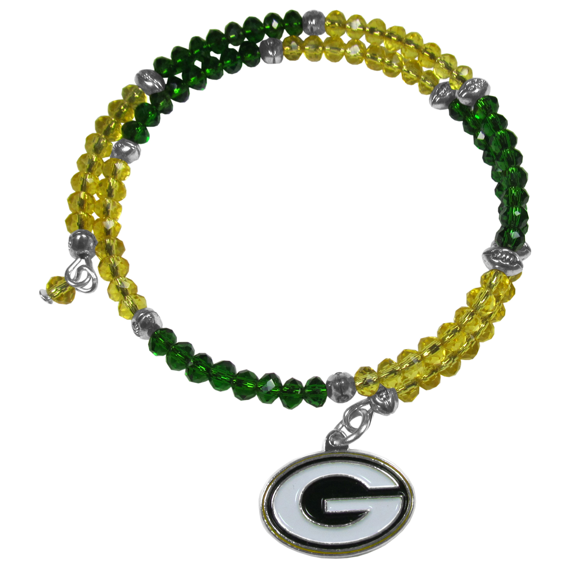 Green Bay Packers Crystal Memory Wire Bracelet - Our Green Bay Packers memory wire crystal bracelet is trendy way to show off your love of the game. The double wrap bracelet is completely covered in 4 mm crystals that are broken up with adorable football beads creating a designer look with a sporty twist. The bracelet features a fully cast, metal team charm that has expertly enameled team colors. This fashion jewelry piece is a must-have for the die-hard fan that chic look that can dress up any outfit.