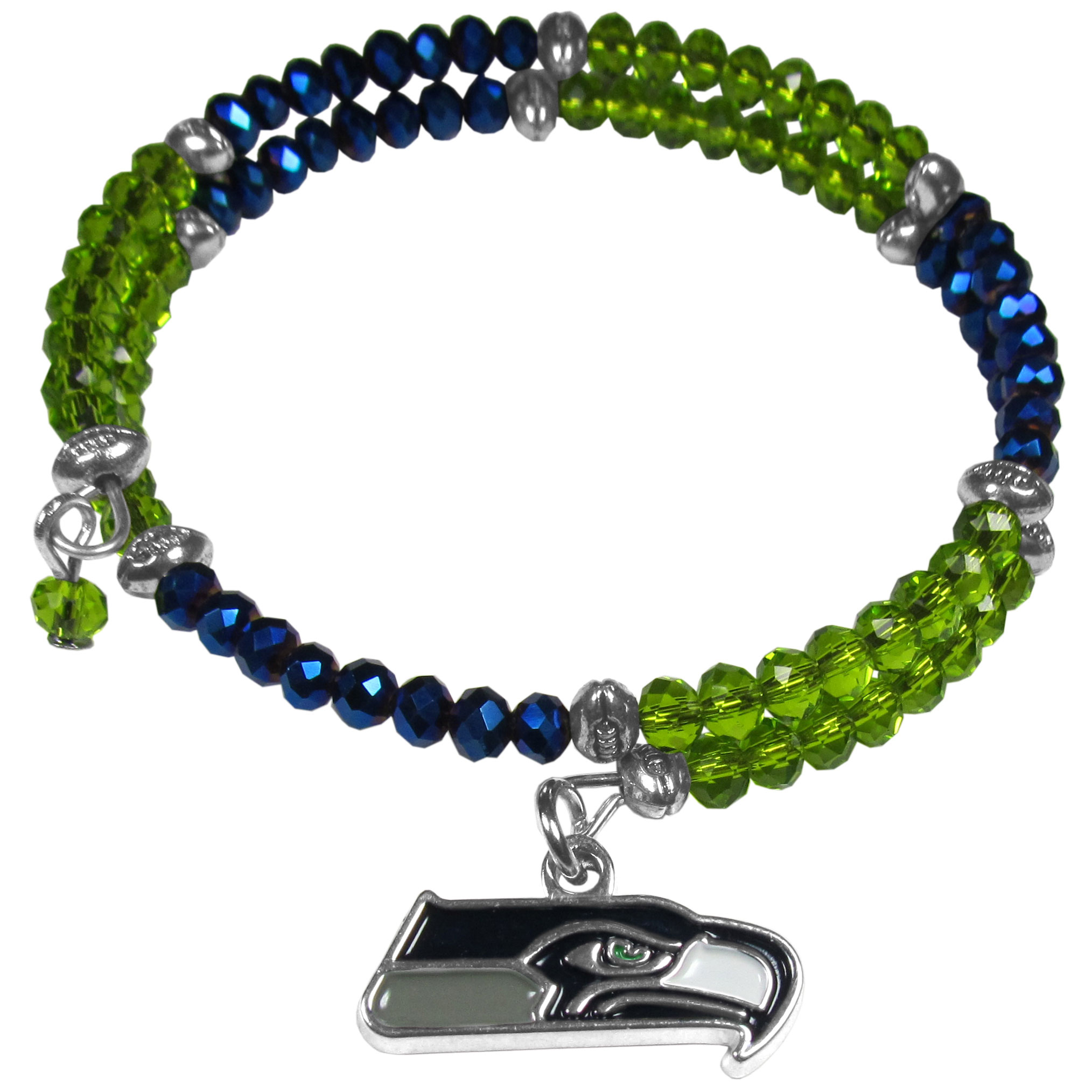Seattle Seahawks Crystal Memory Wire Bracelet - Our Seattle Seahawks memory wire crystal bracelet is trendy way to show off your love of the game. The double wrap bracelet is completely covered in 4 mm crystals that are broken up with adorable football beads creating a designer look with a sporty twist. The bracelet features a fully cast, metal team charm that has expertly enameled team colors. This fashion jewelry piece is a must-have for the die-hard fan that chic look that can dress up any outfit.