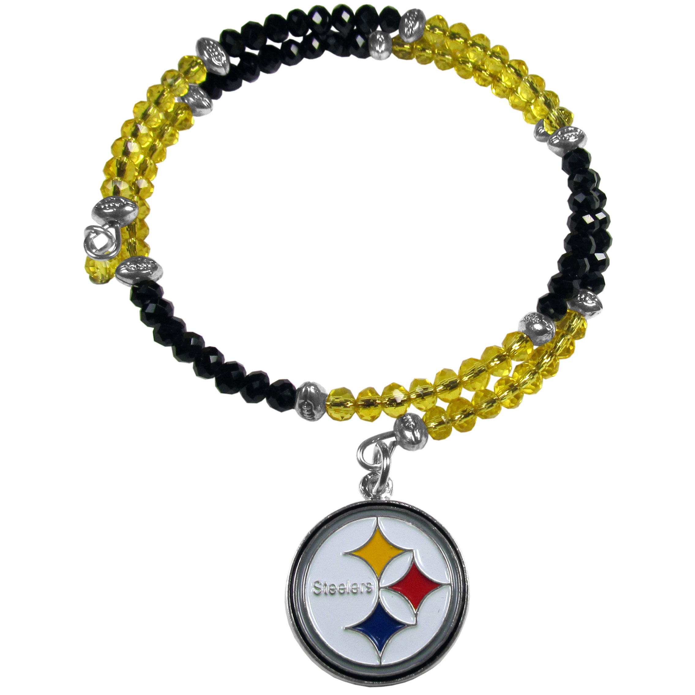 Pittsburgh Steelers Crystal Memory Wire Bracelet - Our Pittsburgh Steelers memory wire crystal bracelet is trendy way to show off your love of the game. The double wrap bracelet is completely covered in 4 mm crystals that are broken up with adorable football beads creating a designer look with a sporty twist. The bracelet features a fully cast, metal team charm that has expertly enameled team colors. This fashion jewelry piece is a must-have for the die-hard fan that chic look that can dress up any outfit.