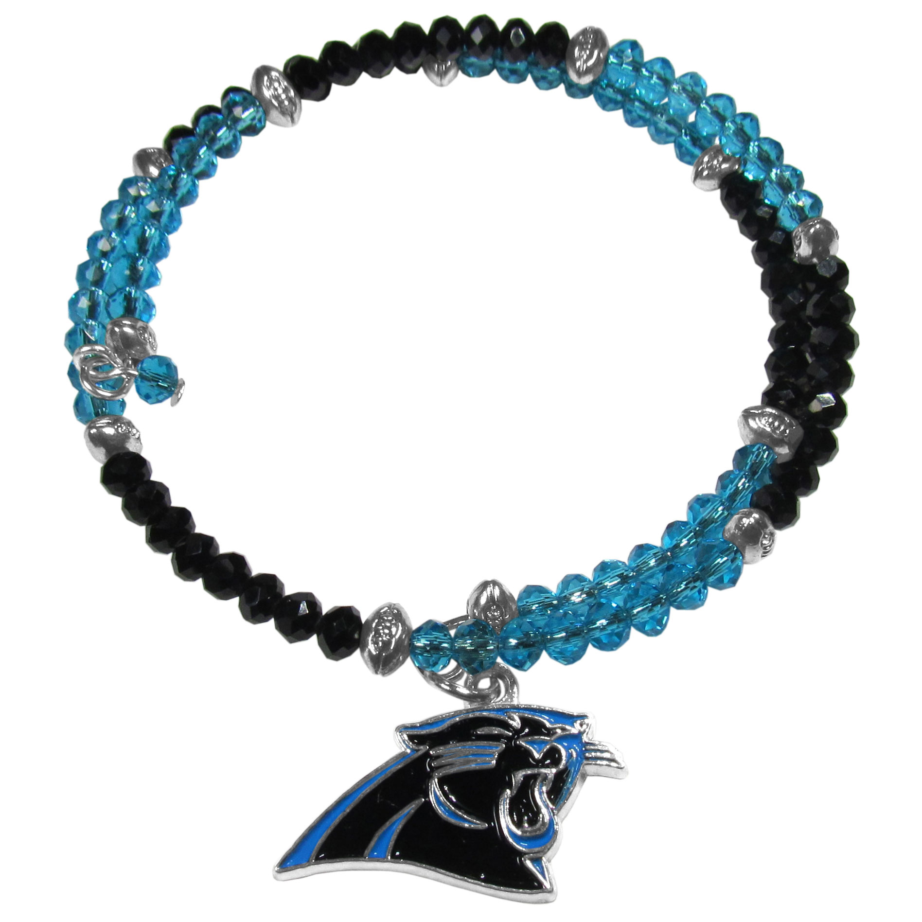 Carolina Panthers Crystal Memory Wire Bracelet - Our Carolina Panthers memory wire crystal bracelet is trendy way to show off your love of the game. The double wrap bracelet is completely covered in 4 mm crystals that are broken up with adorable football beads creating a designer look with a sporty twist. The bracelet features a fully cast, metal team charm that has expertly enameled team colors. This fashion jewelry piece is a must-have for the die-hard fan that chic look that can dress up any outfit.