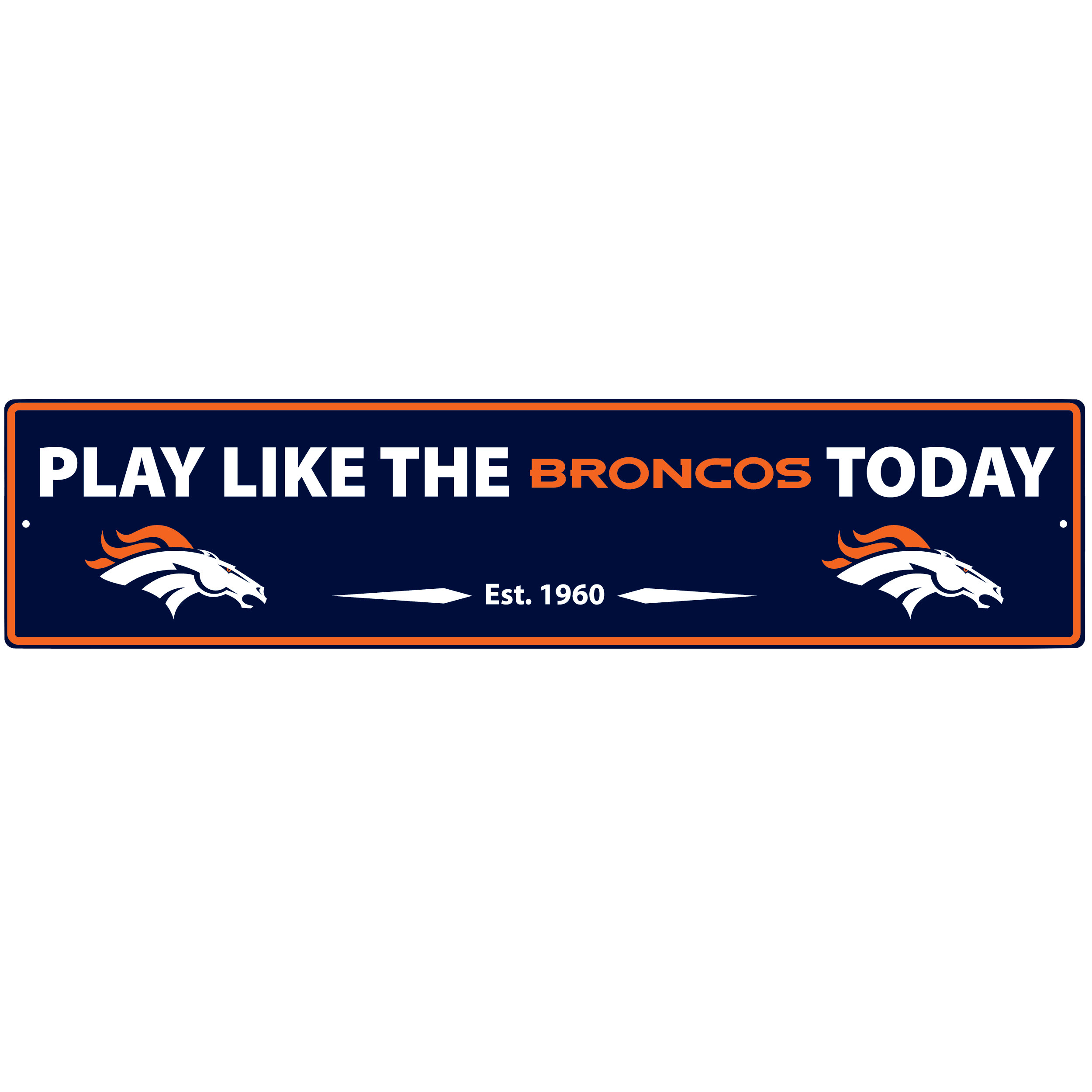 Denver Broncos Street Sign Wall Plaque - This motivational plaque is perfect for hanging over the doorway of your fan cave reminding you to play like your champion Denver Broncos! The sign is 20 inches wide and made of light-weight stamped aluminum. The bright team colors and classic design make this a must-have home décor accessory that would look great in any game room, living room or office!