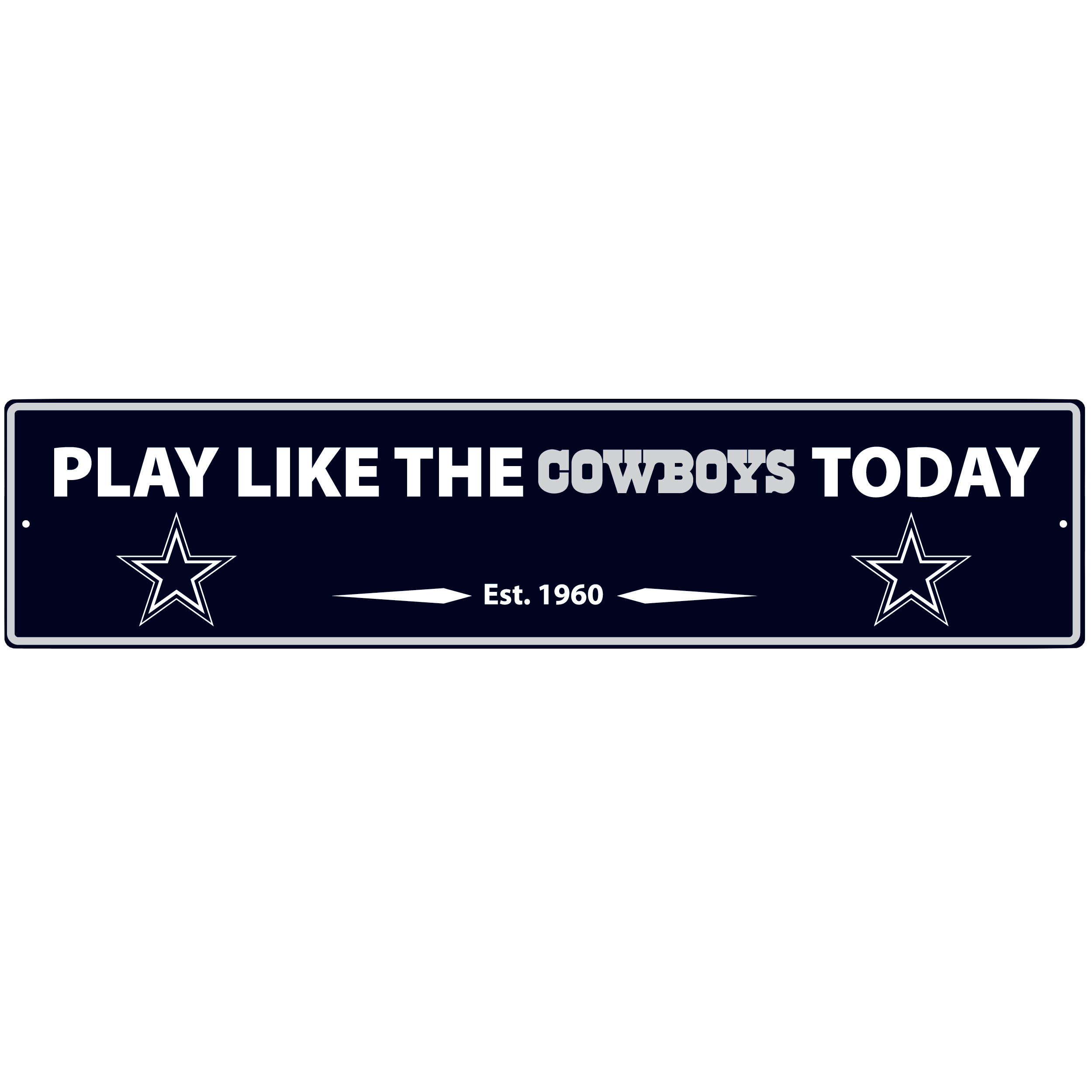 Dallas Cowboys Street Sign Wall Plaque - This motivational plaque is perfect for hanging over the doorway of your fan cave reminding you to play like your champion Dallas Cowboys! The sign is 20 inches wide and made of light-weight stamped aluminum. The bright team colors and classic design make this a must-have home décor accessory that would look great in any game room, living room or office!