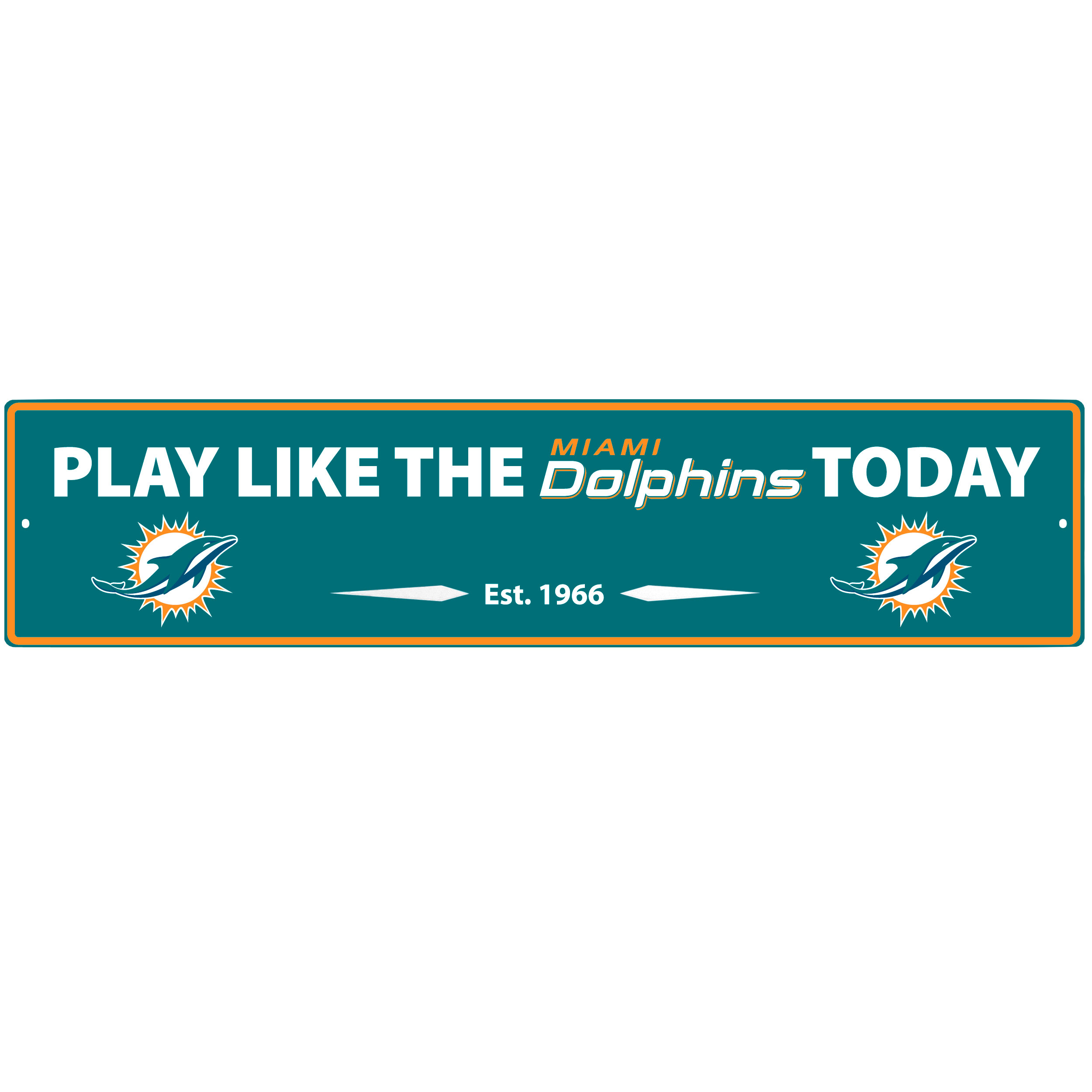 Miami Dolphins Street Sign Wall Plaque - This motivational plaque is perfect for hanging over the doorway of your fan cave reminding you to play like your champion Miami Dolphins! The sign is 20 inches wide and made of light-weight stamped aluminum. The bright team colors and classic design make this a must-have home décor accessory that would look great in any game room, living room or office!