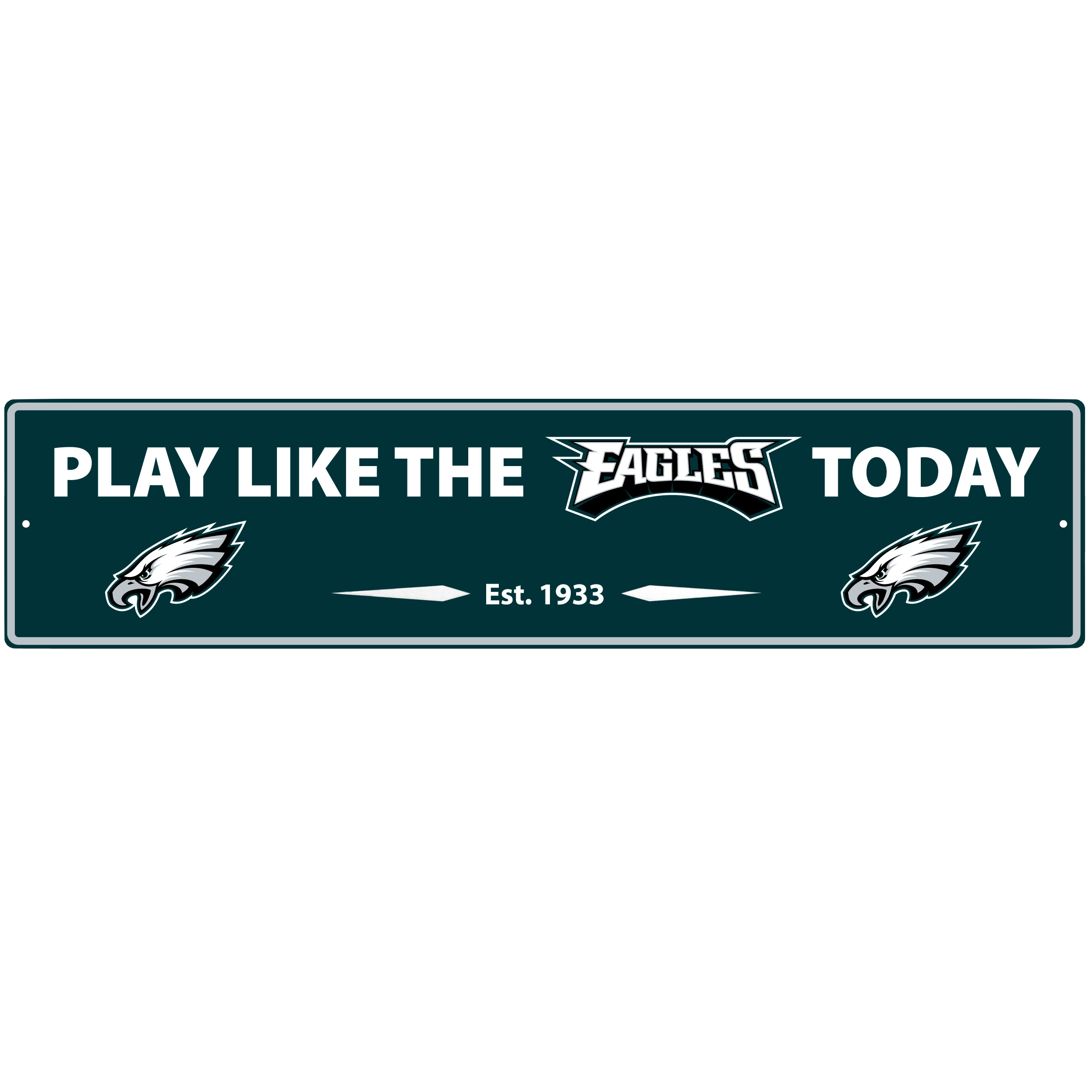 Philadelphia Eagles Street Sign Wall Plaque - This motivational plaque is perfect for hanging over the doorway of your fan cave reminding you to play like your champion Philadelphia Eagles! The sign is 20 inches wide and made of light-weight stamped aluminum. The bright team colors and classic design make this a must-have home décor accessory that would look great in any game room, living room or office!
