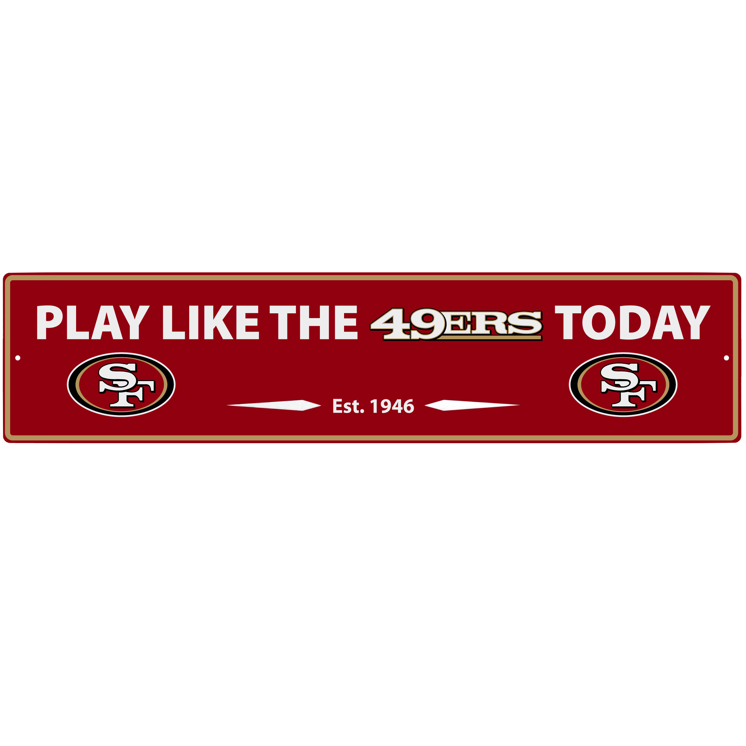 San Francisco 49ers Street Sign Wall Plaque - This motivational plaque is perfect for hanging over the doorway of your fan cave reminding you to play like your champion San Francisco 49ers! The sign is 20 inches wide and made of light-weight stamped aluminum. The bright team colors and classic design make this a must-have home décor accessory that would look great in any game room, living room or office!