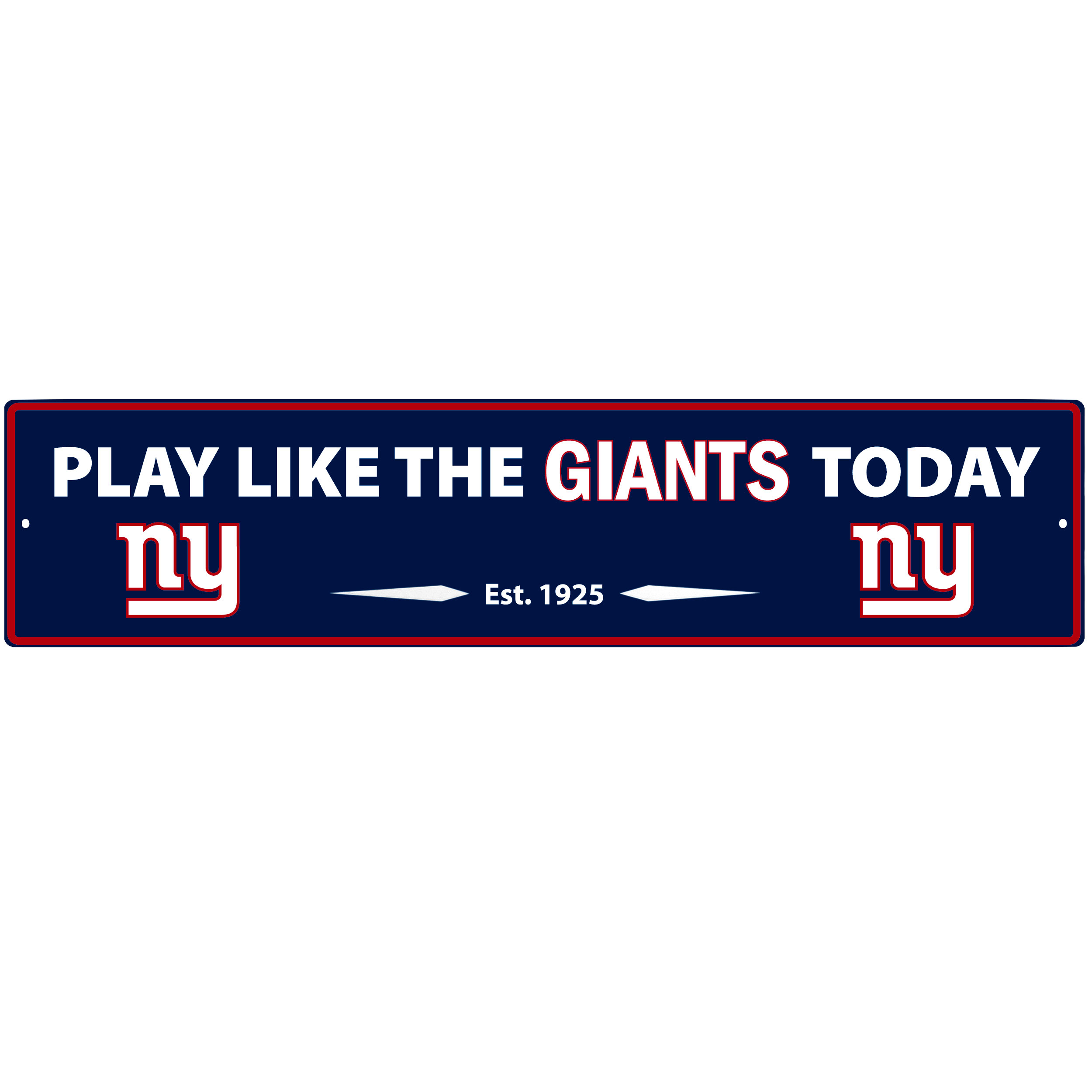New York Giants Street Sign Wall Plaque - This motivational plaque is perfect for hanging over the doorway of your fan cave reminding you to play like your champion New York Giants! The sign is 20 inches wide and made of light-weight stamped aluminum. The bright team colors and classic design make this a must-have home décor accessory that would look great in any game room, living room or office!