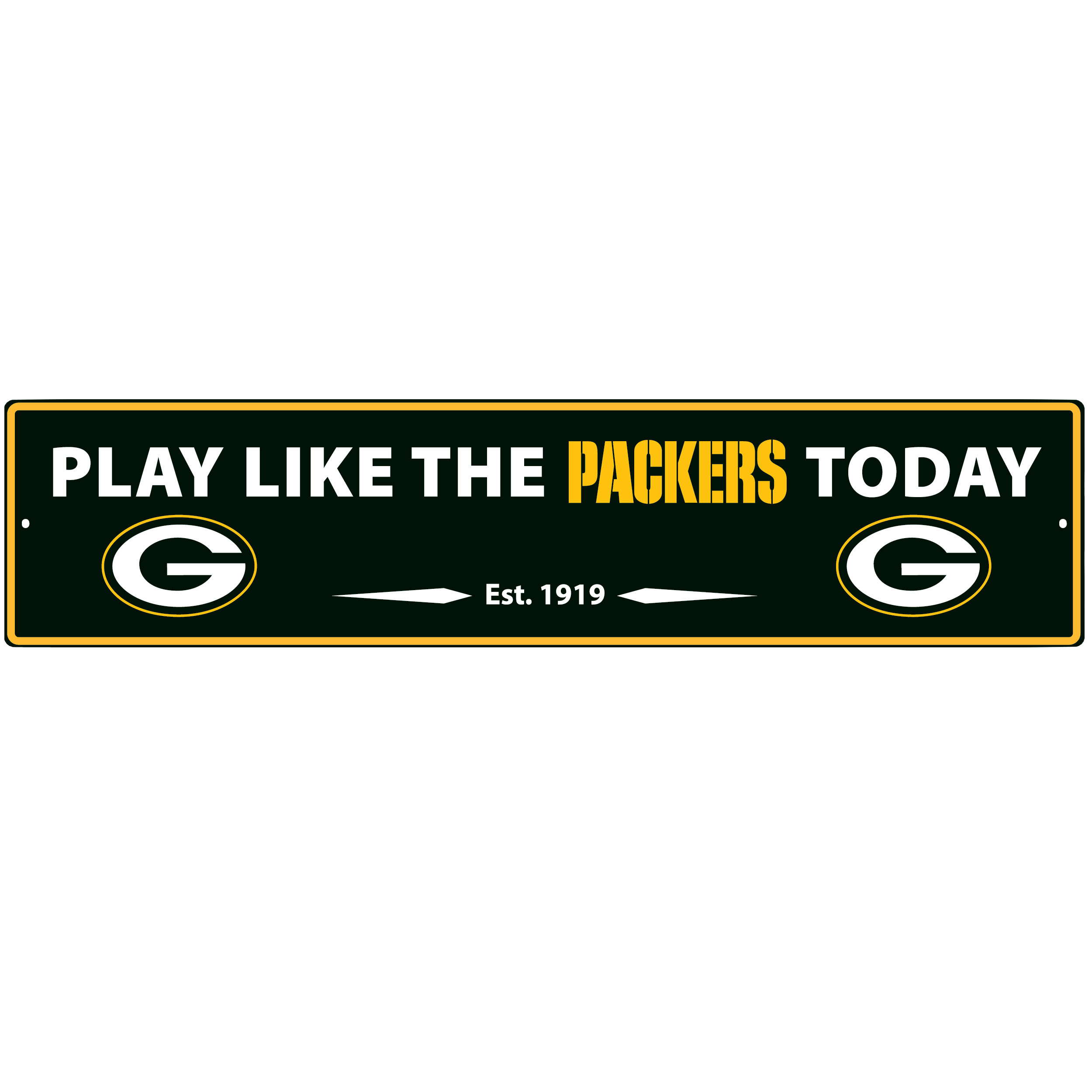 Green Bay Packers Street Sign Wall Plaque - This motivational plaque is perfect for hanging over the doorway of your fan cave reminding you to play like your champion Green Bay Packers! The sign is 20 inches wide and made of light-weight stamped aluminum. The bright team colors and classic design make this a must-have home décor accessory that would look great in any game room, living room or office!