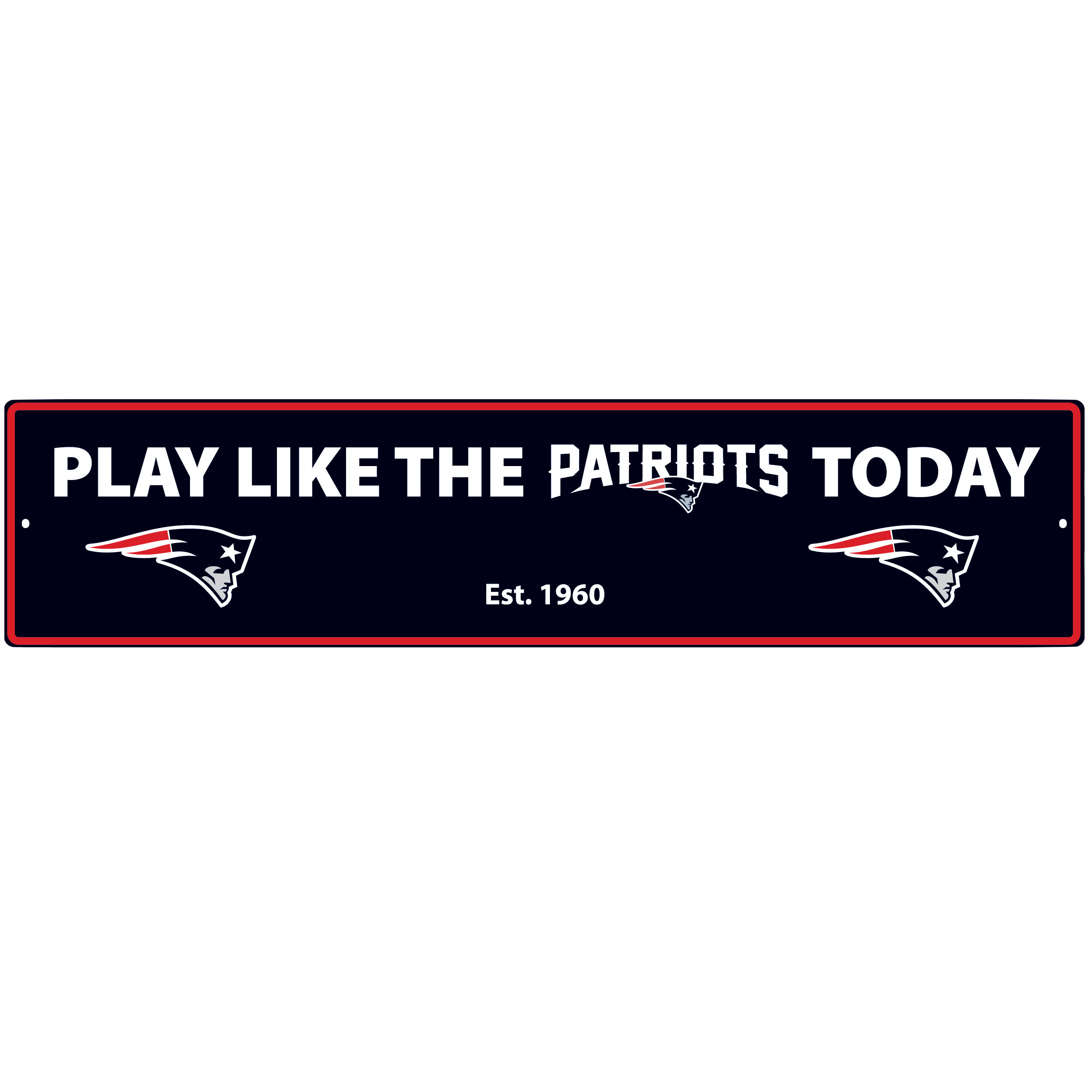 New England Patriots Street Sign Wall Plaque - This motivational plaque is perfect for hanging over the doorway of your fan cave reminding you to play like your champion New England Patriots! The sign is 20 inches wide and made of light-weight stamped aluminum. The bright team colors and classic design make this a must-have home décor accessory that would look great in any game room, living room or office!