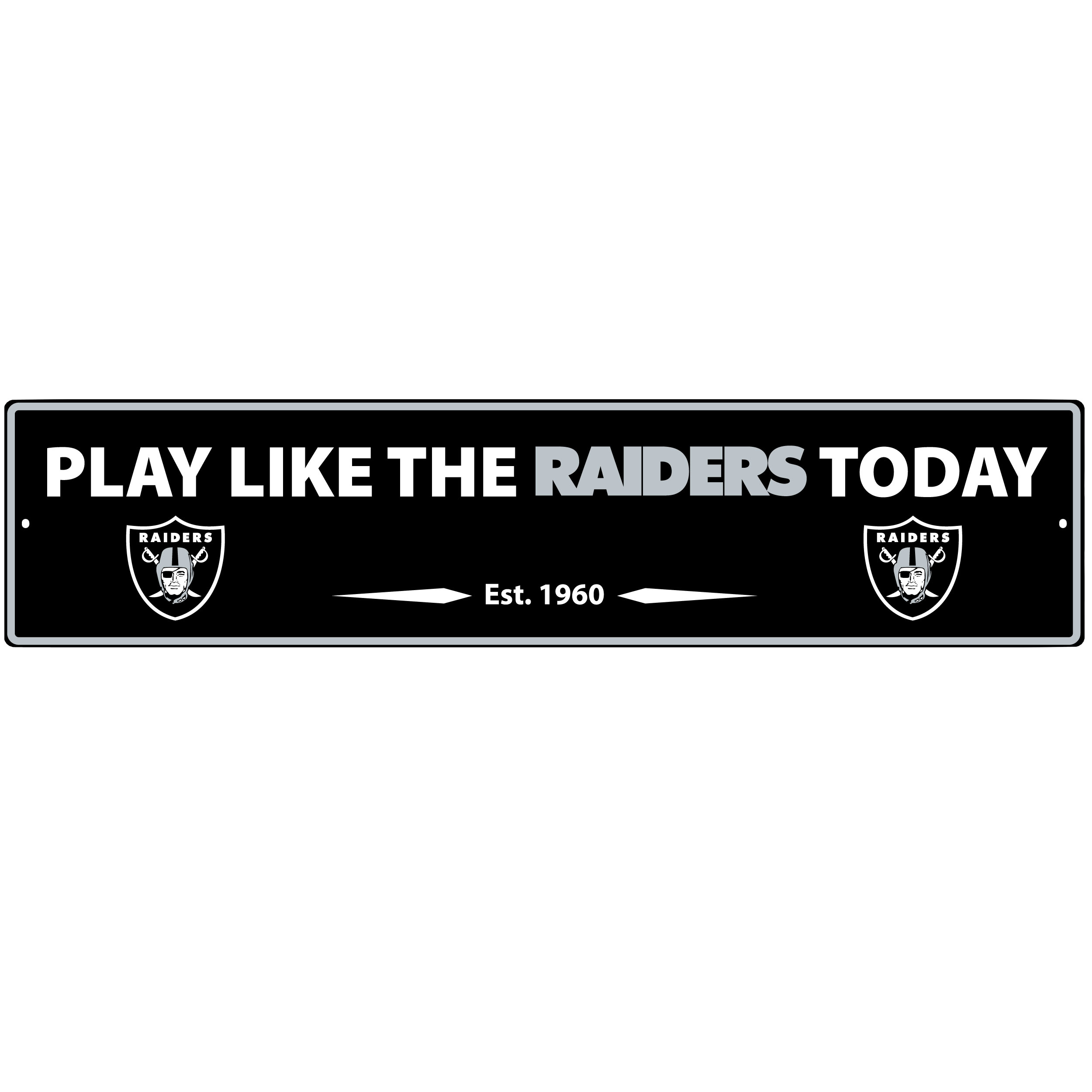 Oakland Raiders Street Sign Wall Plaque - This motivational plaque is perfect for hanging over the doorway of your fan cave reminding you to play like your champion Oakland Raiders! The sign is 20 inches wide and made of light-weight stamped aluminum. The bright team colors and classic design make this a must-have home décor accessory that would look great in any game room, living room or office!
