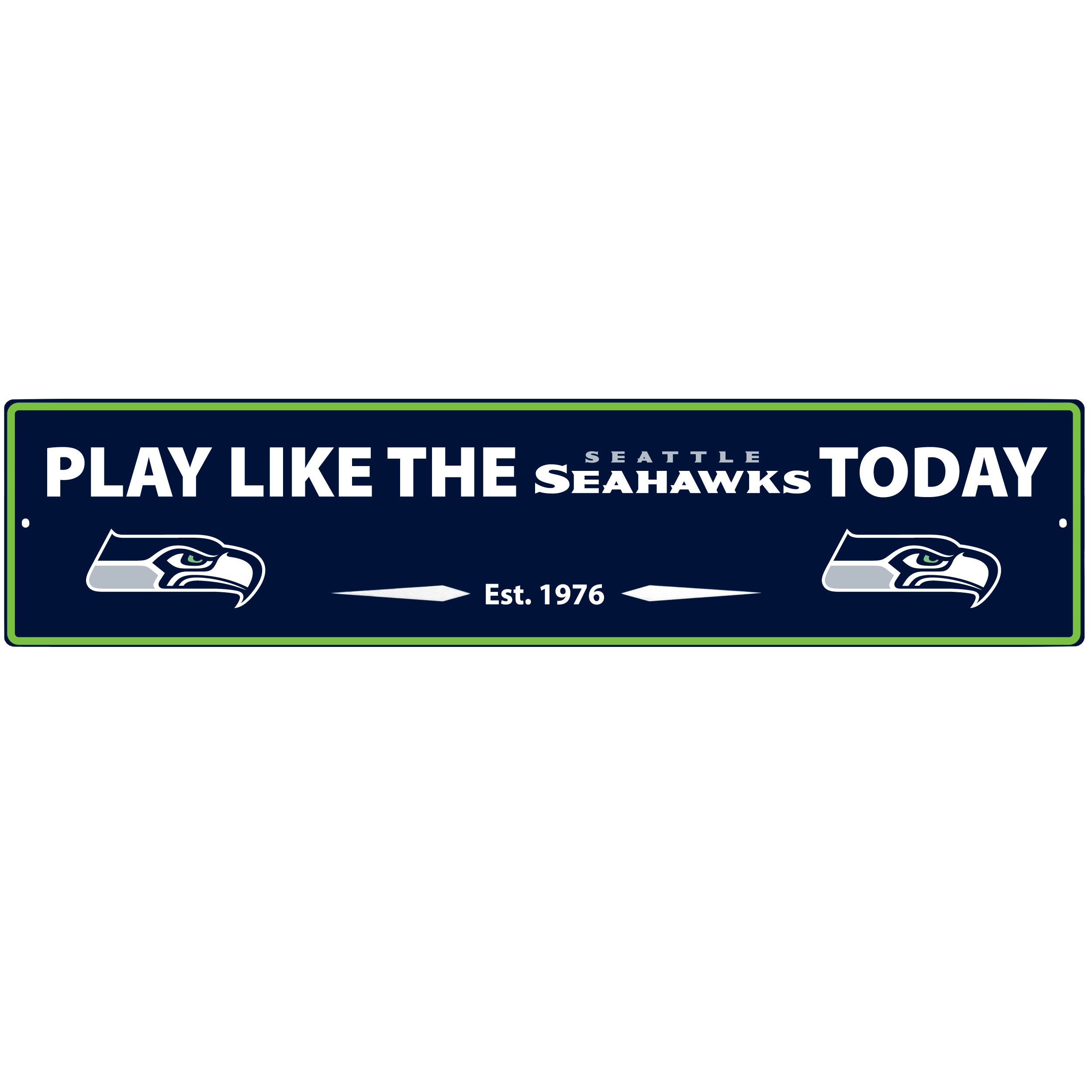 Seattle Seahawks Street Sign Wall Plaque - This motivational plaque is perfect for hanging over the doorway of your fan cave reminding you to play like your champion Seattle Seahawks! The sign is 20 inches wide and made of light-weight stamped aluminum. The bright team colors and classic design make this a must-have home décor accessory that would look great in any game room, living room or office!