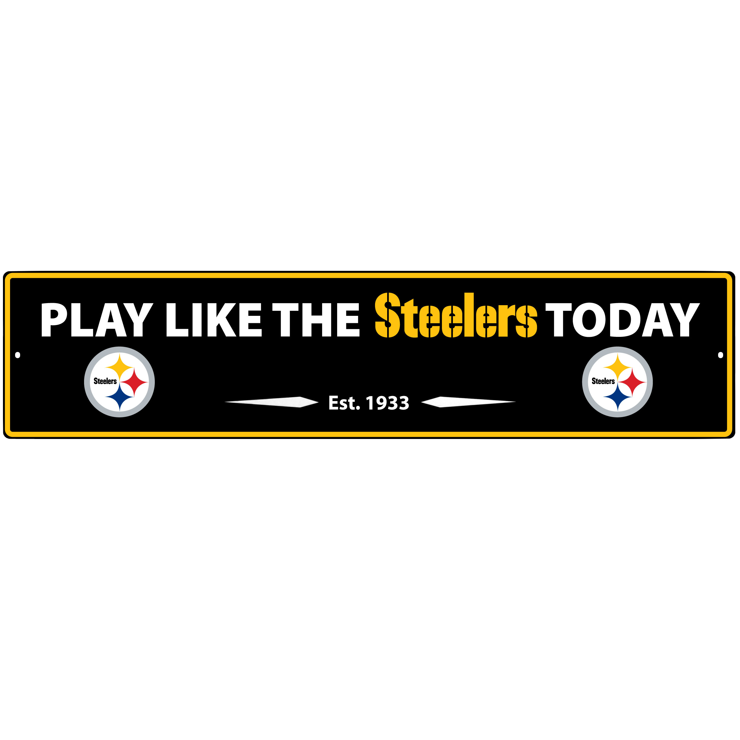 Pittsburgh Steelers Street Sign Wall Plaque - This motivational plaque is perfect for hanging over the doorway of your fan cave reminding you to play like your champion Pittsburgh Steelers! The sign is 20 inches wide and made of light-weight stamped aluminum. The bright team colors and classic design make this a must-have home décor accessory that would look great in any game room, living room or office!