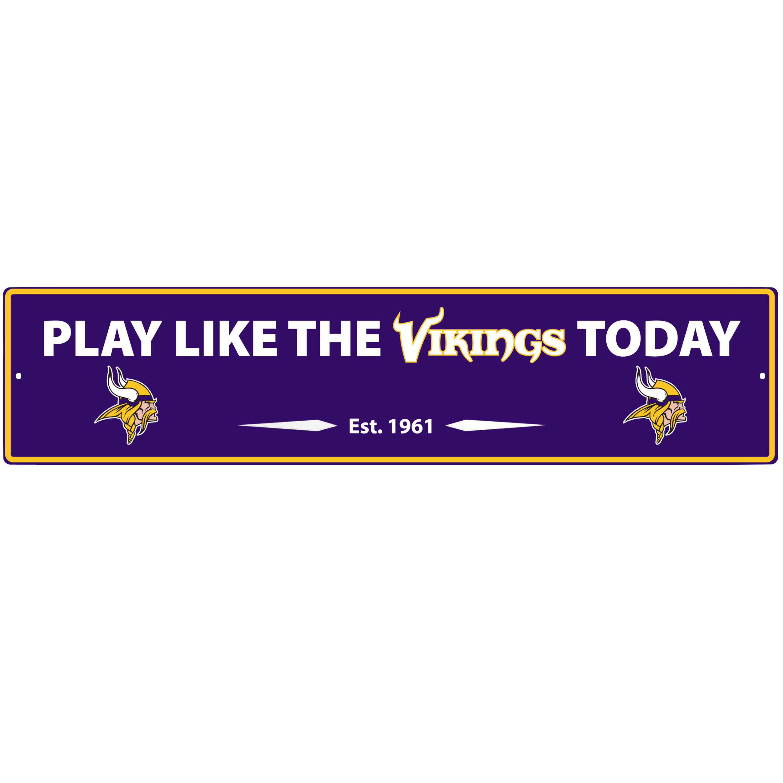 Minnesota Vikings Street Sign Wall Plaque - This motivational plaque is perfect for hanging over the doorway of your fan cave reminding you to play like your champion Minnesota Vikings! The sign is 20 inches wide and made of light-weight stamped aluminum. The bright team colors and classic design make this a must-have home décor accessory that would look great in any game room, living room or office!