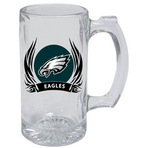 Philadelphia Eagles Tankard - Philadelphia Eagles 13oz tankard with silk screened Philadelphia Eagles logo with tribal flames.This Philadelphia Eagles tankard is the perfect addition to any NFL Philadelphia Eagles game day. Get together with your Philadelphia Eagles tankard or just to show off your Philadelphia Eagles pride! Officially licensed NFL product Licensee: Siskiyou Buckle Thank you for visiting CrazedOutSports.com