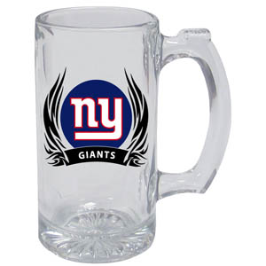 New York Giants Tankard - New York Giants 13oz tankard with silk screened New York Giants logo with tribal flames.This New York Giants tankard is the perfect addition to any NFL New York Giants game day get together or just to show off your New York Giants pride! Officially licensed NFL product Licensee: Siskiyou Buckle Thank you for visiting CrazedOutSports.com