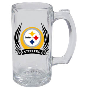 Pittsburgh Steelers Tankard - Pittsburgh Steelers 13oz tankard with silk screened Pittsburgh Steelers logo with tribal flames.This Pittsburgh Steelers tankard is the perfect addition to any NFL Pittsburgh Steelers game day. Get together with your Pittsburgh Steelers tankard or just to show off your Pittsburgh Steelers pride! Officially licensed NFL product Licensee: Siskiyou Buckle .com