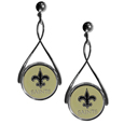 New Orleans Saints Tear Drop Earrings - Our New Orleans Saints are a sporty twist on the classic tear drop earrings. The high polish dangle earrings feature the team logo in raised metal against the primary team color inset into the 2 inch tear drop setting. The earrings have hypoallergenic stud posts. Officially licensed NFL product Licensee: Siskiyou Buckle. !
