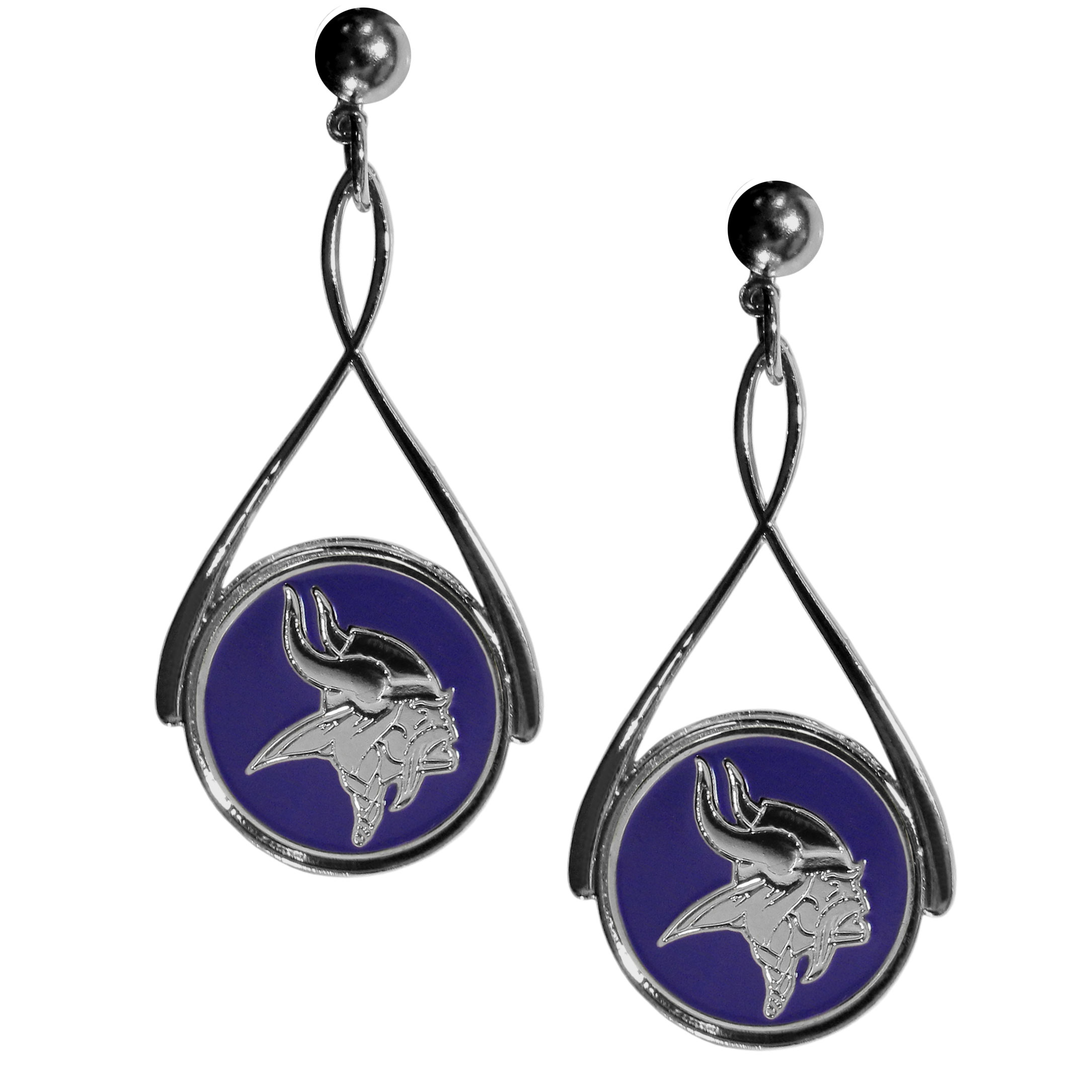 Minnesota Vikings Tear Drop Earrings - Our Minnesota Vikings are a sporty twist on the classic tear drop earrings. The high polish dangle earrings feature the team logo in raised metal against the primary team color inset into the 2 inch tear drop setting. The earrings have hypoallergenic stud posts.