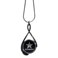 Dallas Cowboys Tear Drop Necklace - Our Dallas Cowboys are a sporty twist on the classic tear drop pendants. The high polish pendant that features the team logo in raised metal against the primary team color inset into the 2 inch tear drop setting. The tear drop pendant comes on an 18 inch chain with a 2 inch link extender. Officially licensed NFL product Licensee: Siskiyou Buckle .com