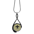 New Orleans Saints Tear Drop Necklace - Our New Orleans Saints are a sporty twist on the classic tear drop pendants. The high polish pendant that features the team logo in raised metal against the primary team color inset into the 2 inch tear drop setting. The tear drop pendant comes on an 18 inch chain with a 2 inch link extender. Officially licensed NFL product Licensee: Siskiyou Buckle. !