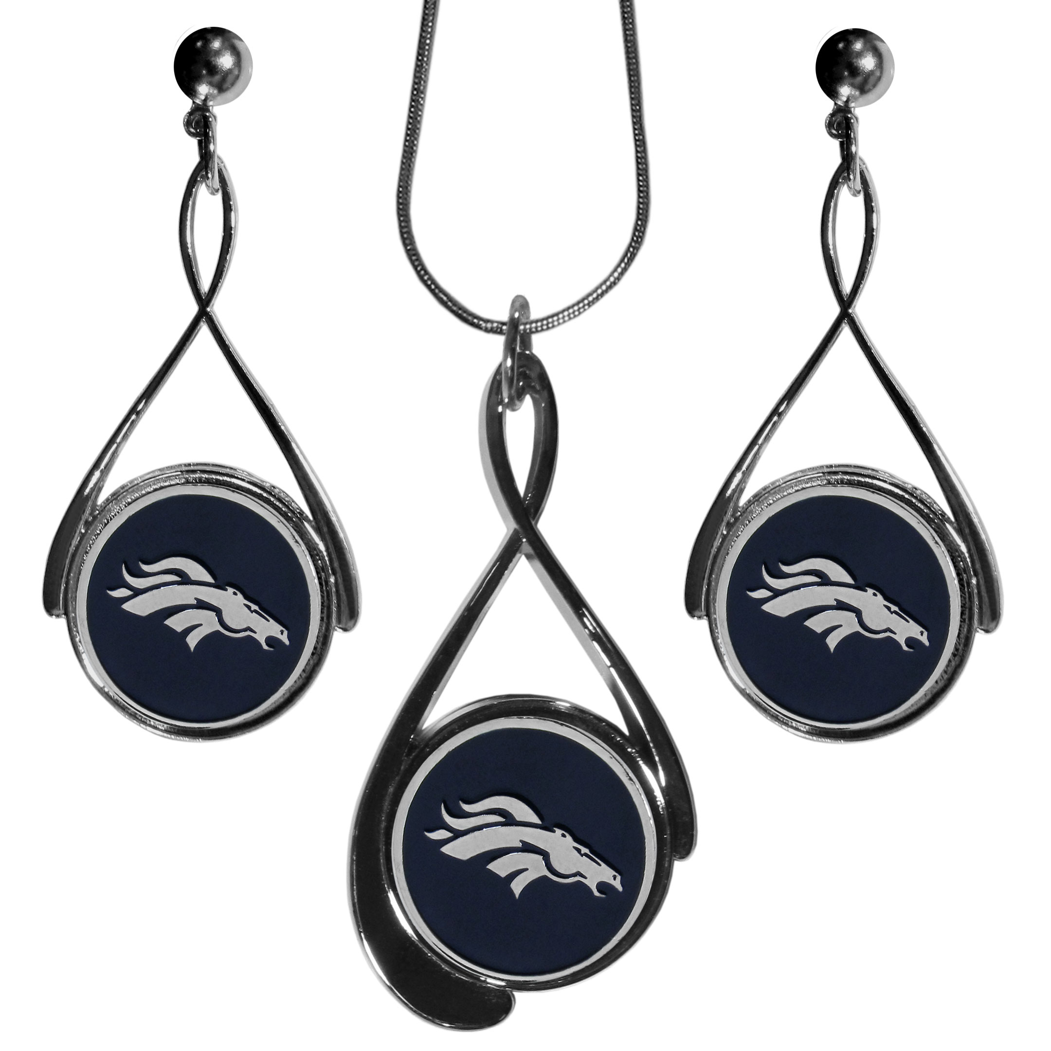 Denver Broncos Tear Drop Jewelry Set - Our Denver Broncos tear drop earrings and necklace set is a sporty twist on the classic tear drop style. The high polish dangle earrings feature the team logo in raised metal against the primary team color inset into the 2 inch tear drop setting paired with a beautiful matching necklace with a 18 inch snake chain with 2 inch extendor. The earrings have hypoallergenic stud posts.