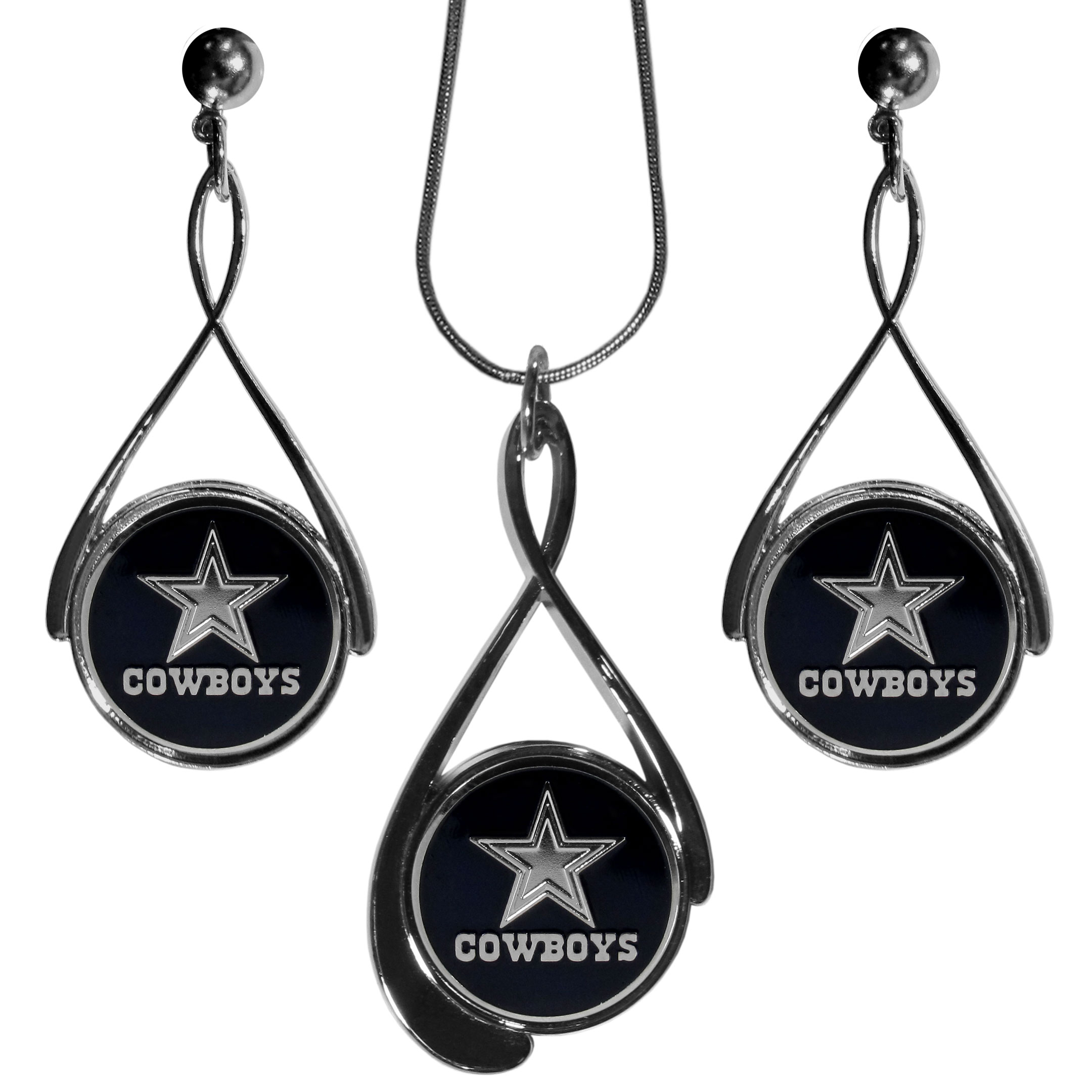 Dallas Cowboys Tear Drop Jewelry Set - Our Dallas Cowboys tear drop earrings and necklace set is a sporty twist on the classic tear drop style. The high polish dangle earrings feature the team logo in raised metal against the primary team color inset into the 2 inch tear drop setting paired with a beautiful matching necklace with a 18 inch snake chain with 2 inch extendor. The earrings have hypoallergenic stud posts.