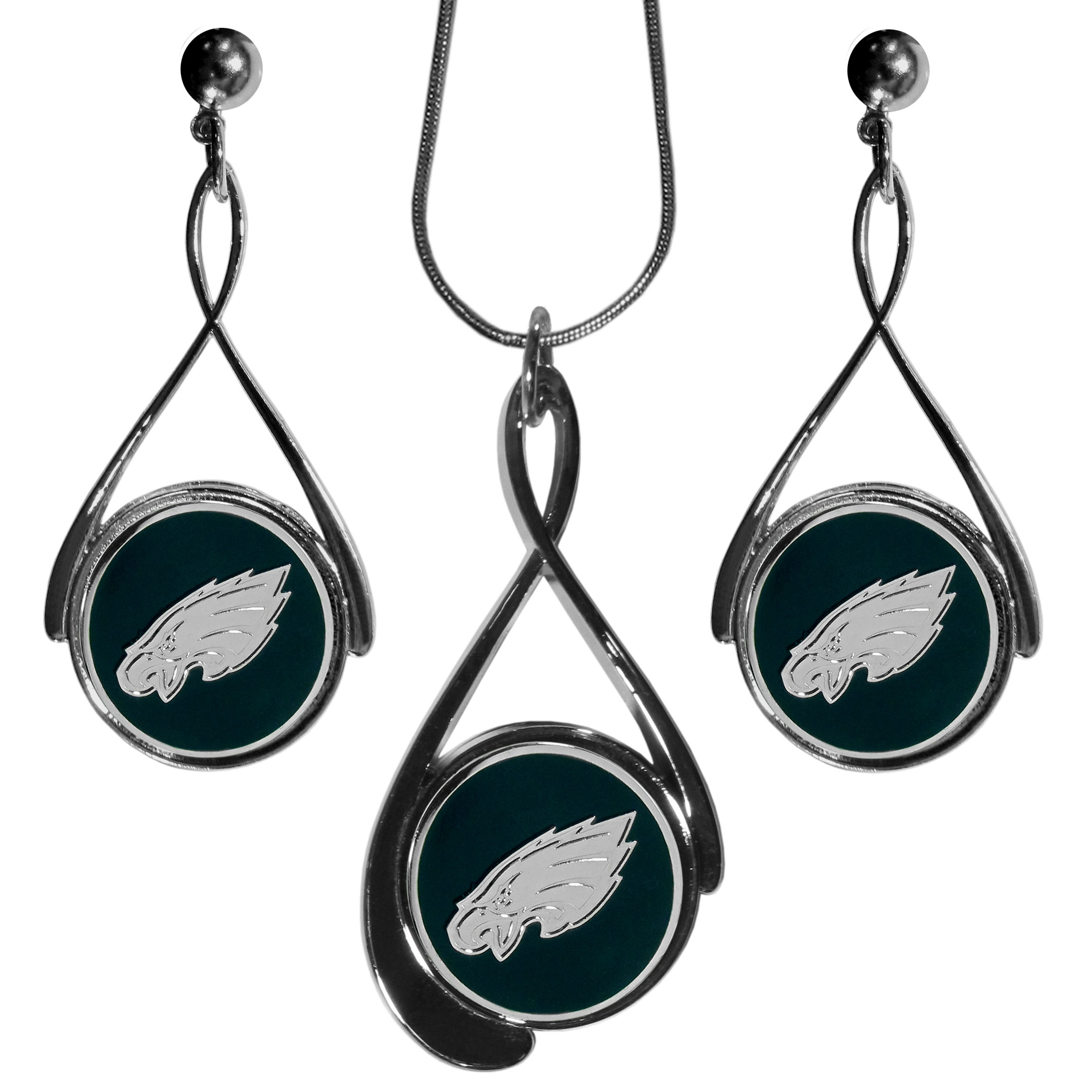 Philadelphia Eagles Tear Drop Jewelry Set - Our Philadelphia Eagles tear drop earrings and necklace set is a sporty twist on the classic tear drop style. The high polish dangle earrings feature the team logo in raised metal against the primary team color inset into the 2 inch tear drop setting paired with a beautiful matching necklace with a 18 inch snake chain with 2 inch extendor. The earrings have hypoallergenic stud posts.