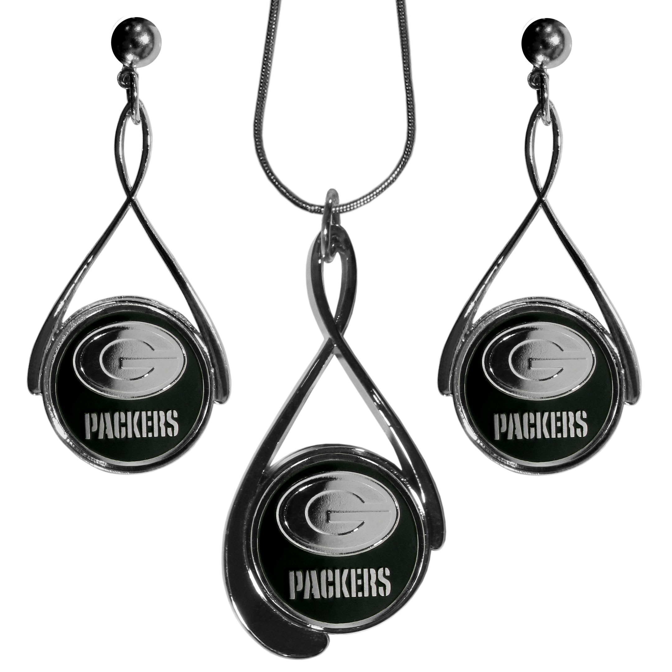 Green Bay Packers Tear Drop Jewelry Set - Our Green Bay Packers tear drop earrings and necklace set is a sporty twist on the classic tear drop style. The high polish dangle earrings feature the team logo in raised metal against the primary team color inset into the 2 inch tear drop setting paired with a beautiful matching necklace with a 18 inch snake chain with 2 inch extendor. The earrings have hypoallergenic stud posts.