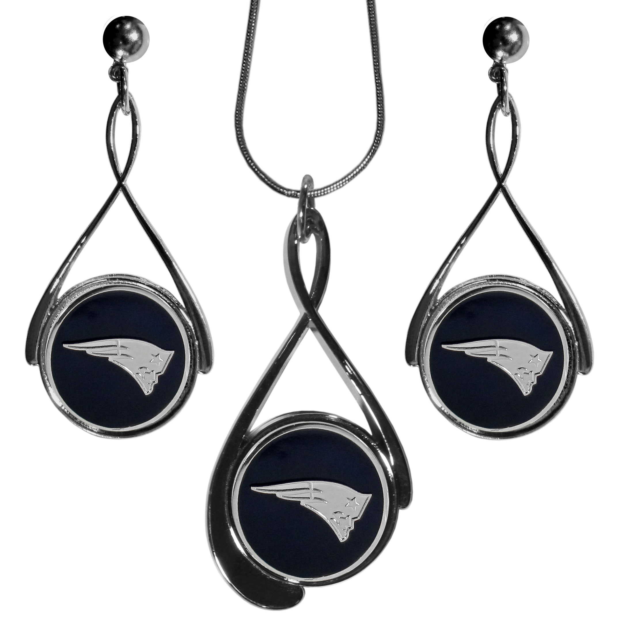New England Patriots Tear Drop Jewelry Set - Our New England Patriots tear drop earrings and necklace set is a sporty twist on the classic tear drop style. The high polish dangle earrings feature the team logo in raised metal against the primary team color inset into the 2 inch tear drop setting paired with a beautiful matching necklace with a 18 inch snake chain with 2 inch extendor. The earrings have hypoallergenic stud posts.