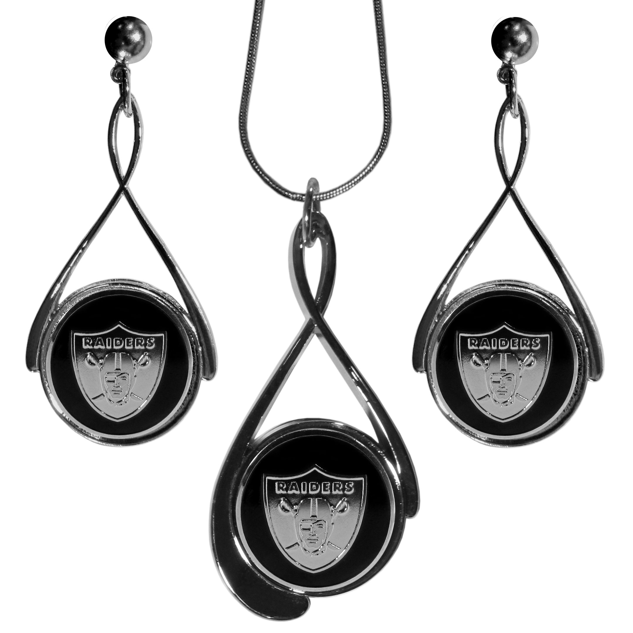 Oakland Raiders Tear Drop Jewelry Set - Our Oakland Raiders tear drop earrings and necklace set is a sporty twist on the classic tear drop style. The high polish dangle earrings feature the team logo in raised metal against the primary team color inset into the 2 inch tear drop setting paired with a beautiful matching necklace with a 18 inch snake chain with 2 inch extendor. The earrings have hypoallergenic stud posts.
