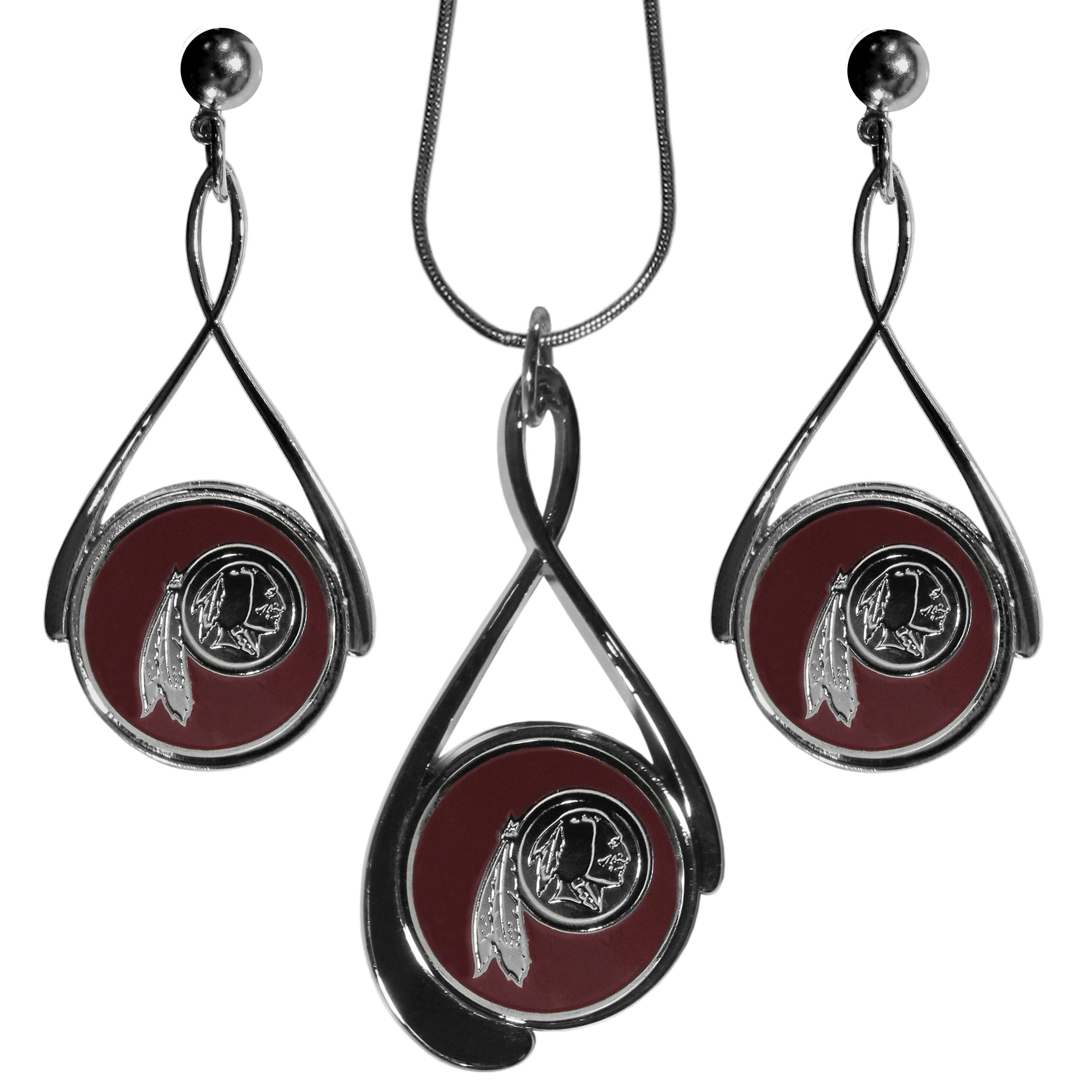 Washington Redskins Tear Drop Jewelry Set - Our Washington Redskins tear drop earrings and necklace set is a sporty twist on the classic tear drop style. The high polish dangle earrings feature the team logo in raised metal against the primary team color inset into the 2 inch tear drop setting paired with a beautiful matching necklace with a 18 inch snake chain with 2 inch extendor. The earrings have hypoallergenic stud posts.