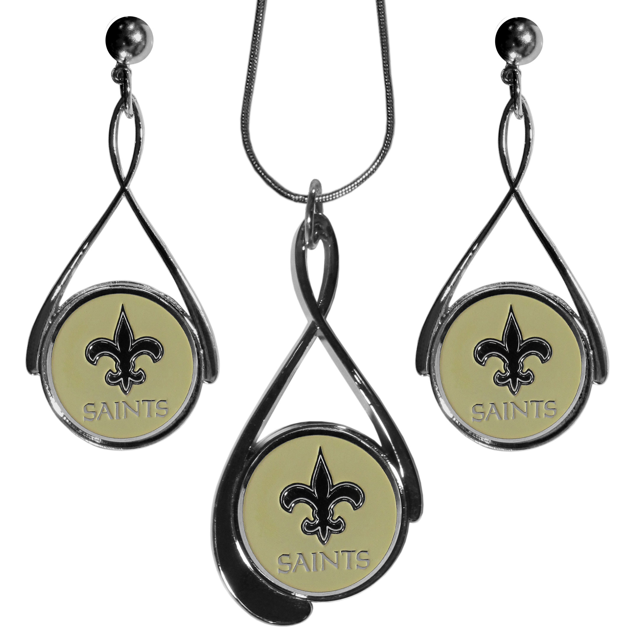 New Orleans Saints Tear Drop Jewelry Set - Our New Orleans Saints tear drop earrings and necklace set is a sporty twist on the classic tear drop style. The high polish dangle earrings feature the team logo in raised metal against the primary team color inset into the 2 inch tear drop setting paired with a beautiful matching necklace with a 18 inch snake chain with 2 inch extendor. The earrings have hypoallergenic stud posts.