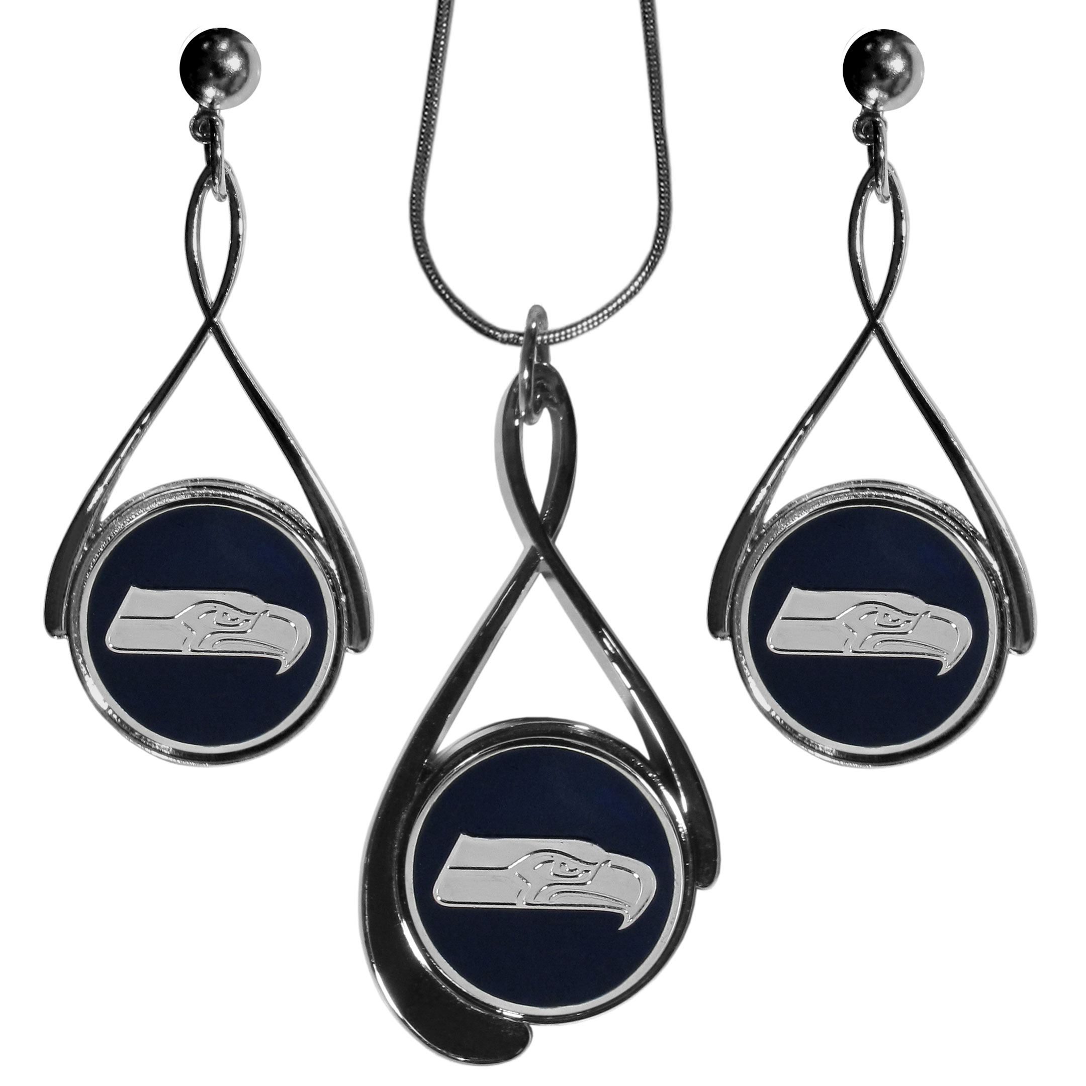 Seattle Seahawks Tear Drop Jewelry Set - Our Seattle Seahawks tear drop earrings and necklace set is a sporty twist on the classic tear drop style. The high polish dangle earrings feature the team logo in raised metal against the primary team color inset into the 2 inch tear drop setting paired with a beautiful matching necklace with a 18 inch snake chain with 2 inch extendor. The earrings have hypoallergenic stud posts.