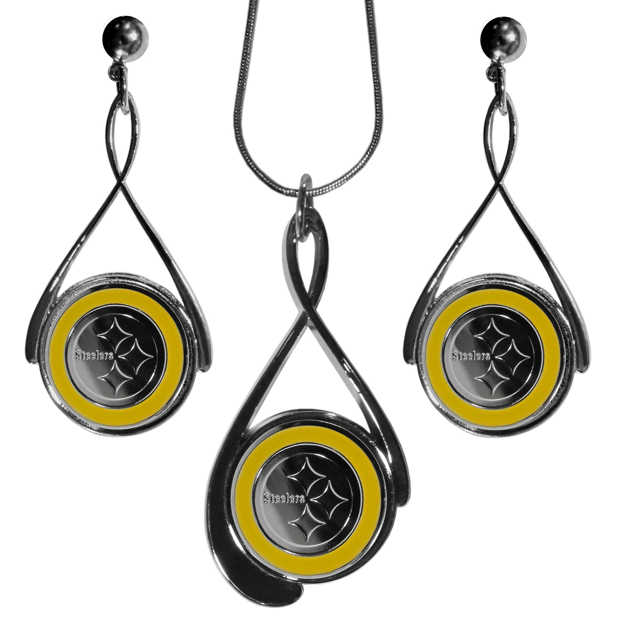Pittsburgh Steelers Tear Drop Jewelry Set - Our Pittsburgh Steelers tear drop earrings and necklace set is a sporty twist on the classic tear drop style. The high polish dangle earrings feature the team logo in raised metal against the primary team color inset into the 2 inch tear drop setting paired with a beautiful matching necklace with a 18 inch snake chain with 2 inch extendor. The earrings have hypoallergenic stud posts.