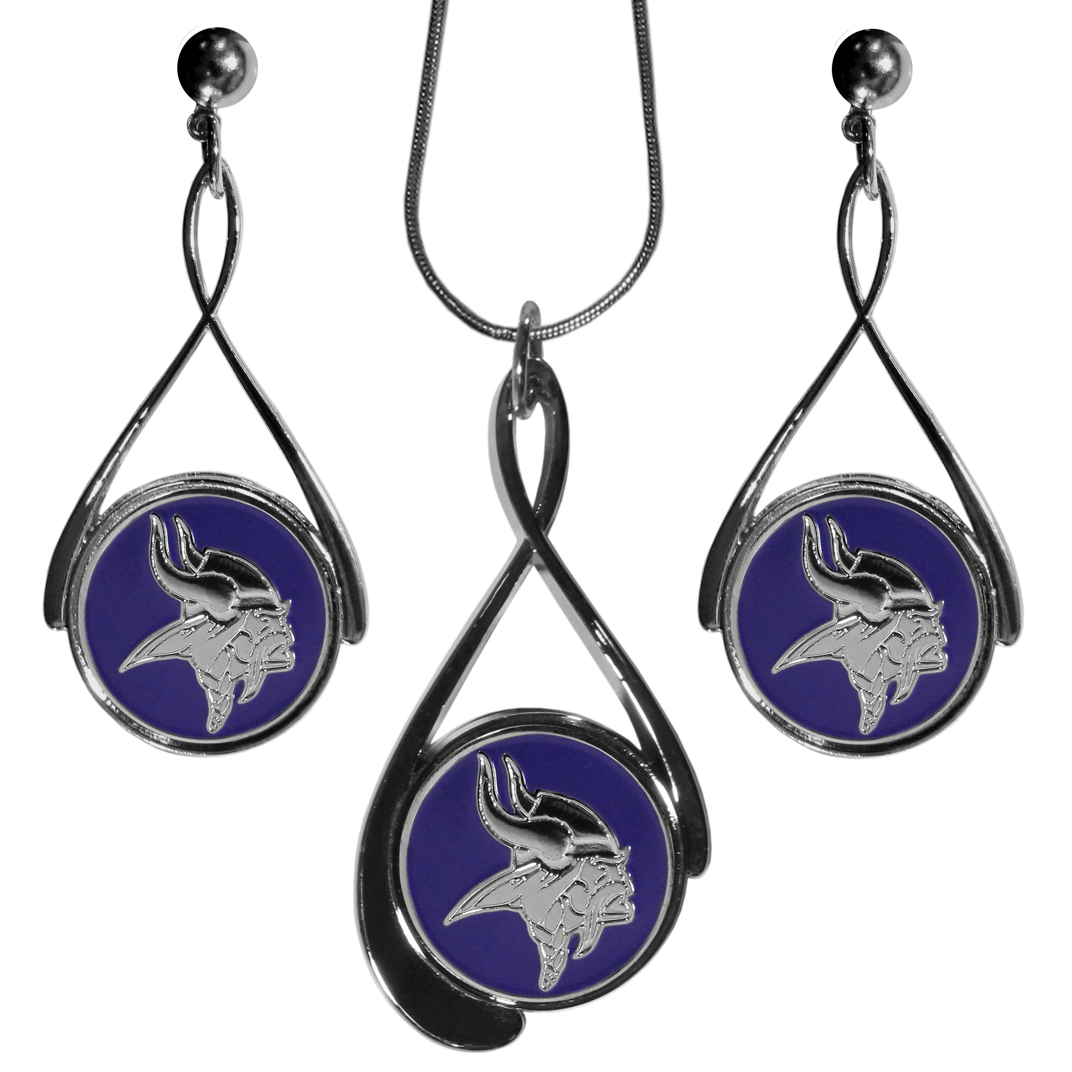 Minnesota Vikings Tear Drop Jewelry Set - Our Minnesota Vikings tear drop earrings and necklace set is a sporty twist on the classic tear drop style. The high polish dangle earrings feature the team logo in raised metal against the primary team color inset into the 2 inch tear drop setting paired with a beautiful matching necklace with a 18 inch snake chain with 2 inch extendor. The earrings have hypoallergenic stud posts.