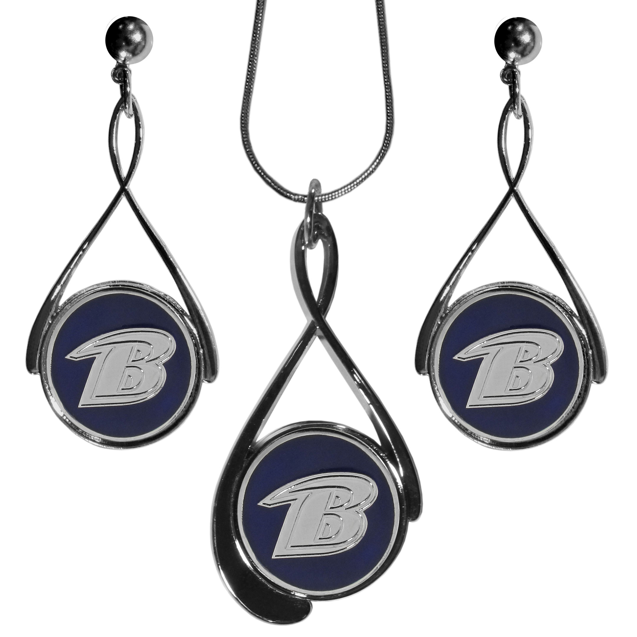 Baltimore Ravens Tear Drop Jewelry Set - Our Baltimore Ravens tear drop earrings and necklace set is a sporty twist on the classic tear drop style. The high polish dangle earrings feature the team logo in raised metal against the primary team color inset into the 2 inch tear drop setting paired with a beautiful matching necklace with a 18 inch snake chain with 2 inch extendor. The earrings have hypoallergenic stud posts.