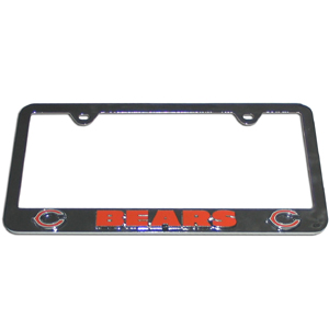Chicago Bears Tag Frame - NFL Chicago Bears steel tag frame has a 3D enameled Chicago Bears logo. Officially licensed NFL product Licensee: Siskiyou Buckle .com