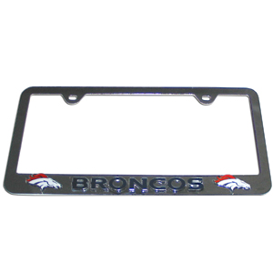 Denver Broncos Tag Frame - NFL Denver Broncos steel tag frame has a 3D enameled Denver Broncos logo. Officially licensed NFL product Licensee: Siskiyou Buckle .com
