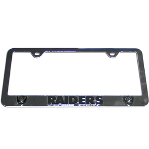 Oakland Raiders Tag Frame - NFL Oakland Raiders steel tag frame has a 3D enameled Oakland Raiders logo. Officially licensed NFL product Licensee: Siskiyou Buckle Thank you for visiting CrazedOutSports.com