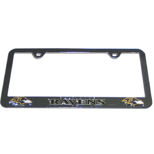 Baltimore Ravens Tag Frame - NFL Baltimore Ravens steel tag frame has a 3D enameled Baltimore Ravens logo. Officially licensed NFL product Licensee: Siskiyou Buckle .com