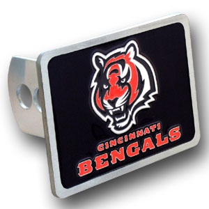 NFL Trailer Hitch LG - Cincinnati Bengals - Our NFL Trailer Hitch Cover is hand painted with 3-D carved logo. Hardware included. Enameled on durable, rust-proof zinc. Fits Class II and Class III hitches. Check out our extensive line of  automotive accessories! Officially licensed NFL product Licensee: Siskiyou Buckle .com