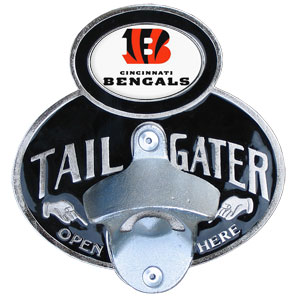 NFL Tailgater Hitch Cover -Cincinnati Bengals - Our tailgater hitch cover   features a functional bottle opener and team emblem with enameled finish. Officially licensed NFL product Licensee: Siskiyou Buckle Thank you for visiting CrazedOutSports.com