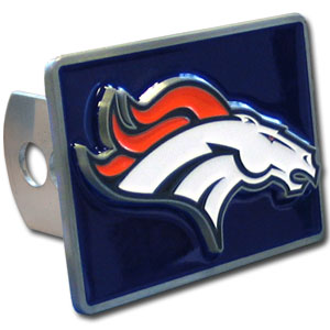 NFL Trailer Hitch LG - Denver Broncos - Our NFL Trailer Hitch Cover is hand painted with 3-D carved logo. Hardware included. Enameled on durable, rust-proof zinc. Fits Class II and Class III hitches. Check out our extensive line of  automotive accessories! Officially licensed NFL product Licensee: Siskiyou Buckle .com