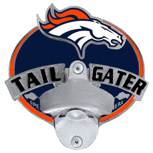 NFL Tailgater Hitch Cover -Denver Broncos - Our tailgater hitch cover   features a functional bottle opener and team emblem with enameled finish. Officially licensed NFL product Licensee: Siskiyou Buckle Thank you for visiting CrazedOutSports.com