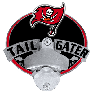 NFL Tailgater Hitch Cover -Tampa Bay Buccaneers - Our tailgater hitch cover   features a functional bottle opener and team emblem with enameled finish. Officially licensed NFL product Licensee: Siskiyou Buckle .com