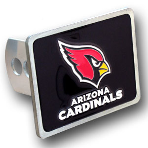 NFL Trailer Hitch LG - Arizona Cardinals - Our NFL Trailer Hitch Cover is hand painted with 3-D carved logo. Hardware included. Enameled on durable, rust-proof zinc. Fits Class II and Class III hitches. Check out our extensive line of  automotive accessories! Officially licensed NFL product Licensee: Siskiyou Buckle .com