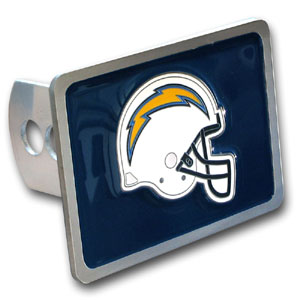 NFL Trailer Hitch LG - San Diego Chargers - Our NFL Trailer Hitch Cover is hand painted with 3-D carved logo. Hardware included. Enameled on durable, rust-proof zinc. Fits Class II and Class III hitches. Check out our extensive line of  automotive accessories! Officially licensed NFL product Licensee: Siskiyou Buckle .com