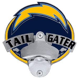 NFL Tailgater Hitch Cover -San Diego Chargers - Our tailgater hitch cover   features a functional bottle opener and team emblem with enameled finish. Officially licensed NFL product Licensee: Siskiyou Buckle .com